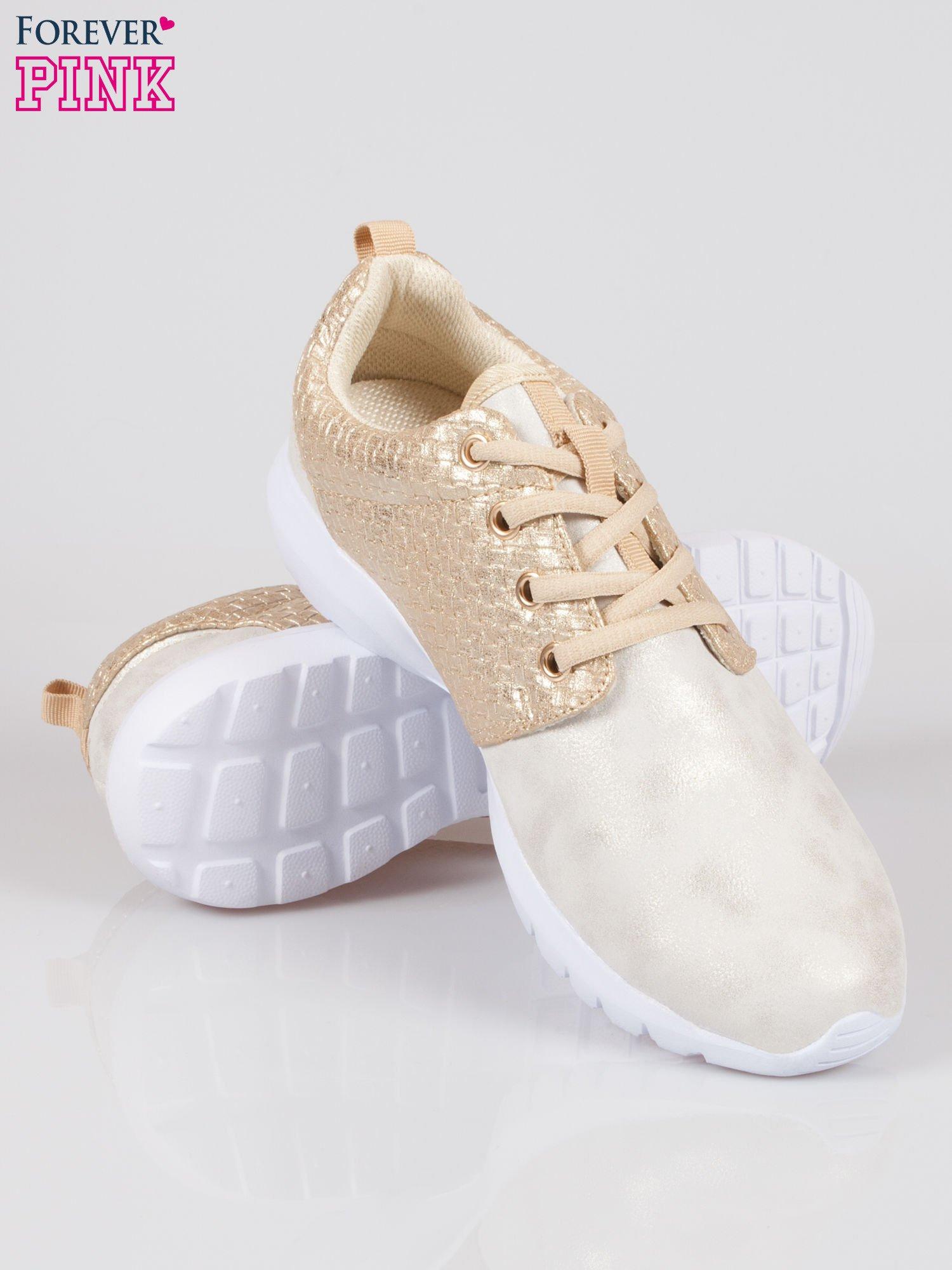 Złote plecione buty sportowe duo Split Up                                  zdj.                                  4