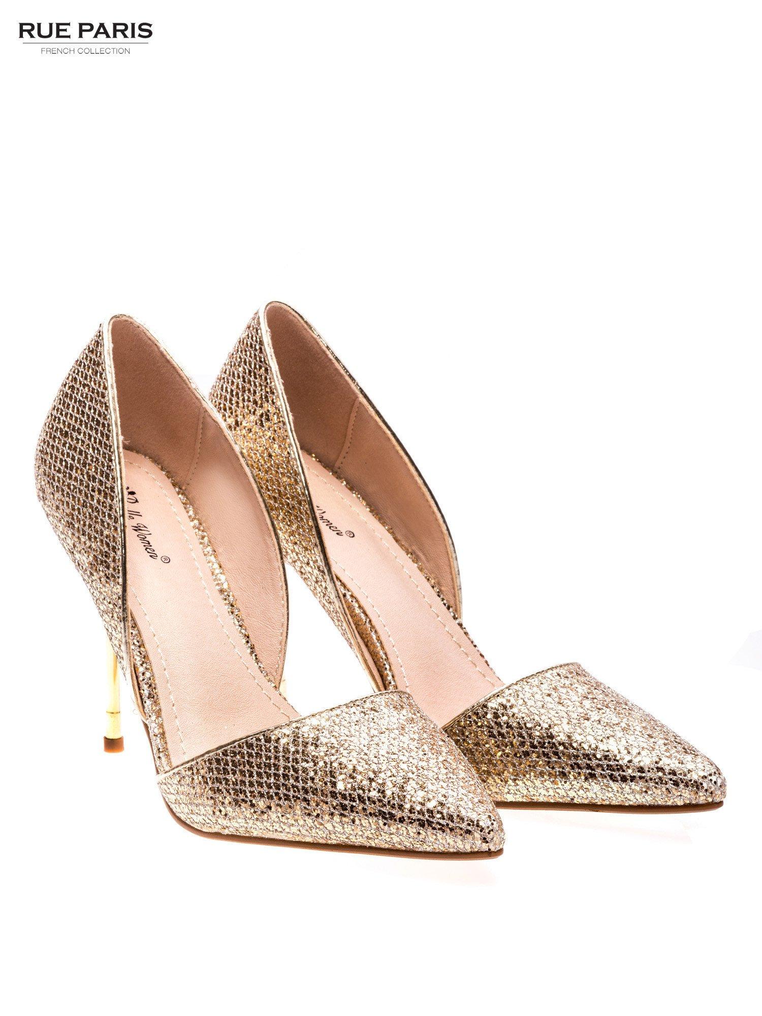 Złote szpilki glitter na metalowej szpilce                                  zdj.                                  2