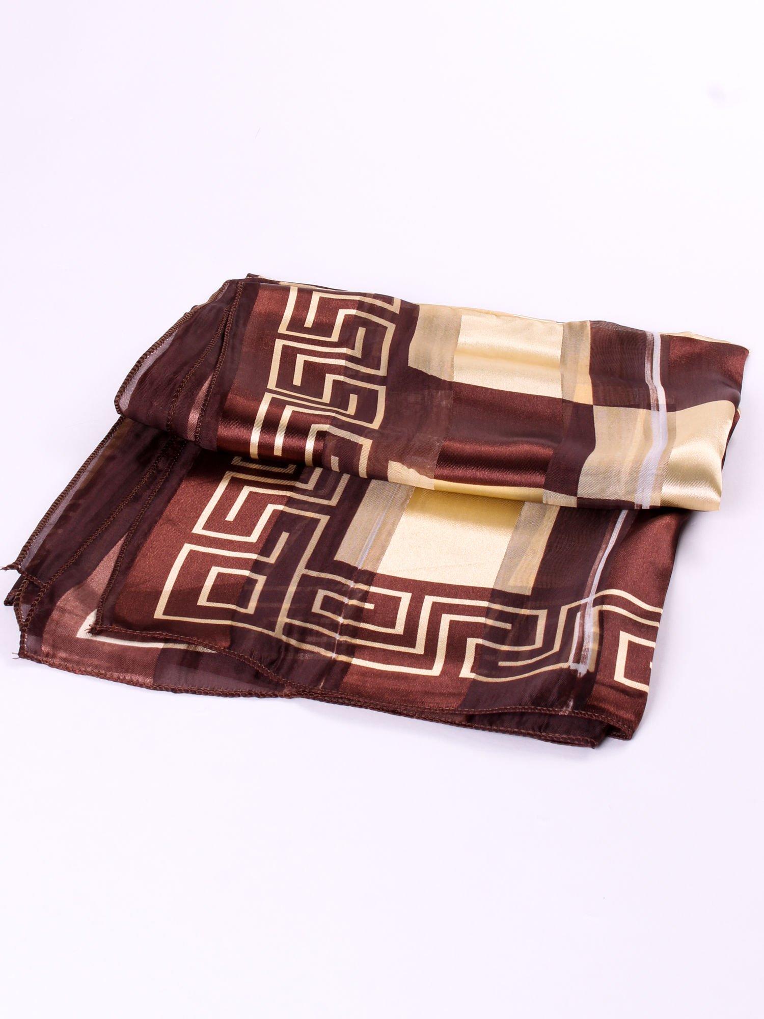 Złoto-brązowa chusta apaszka we wzór geometryczny                                  zdj.                                  3