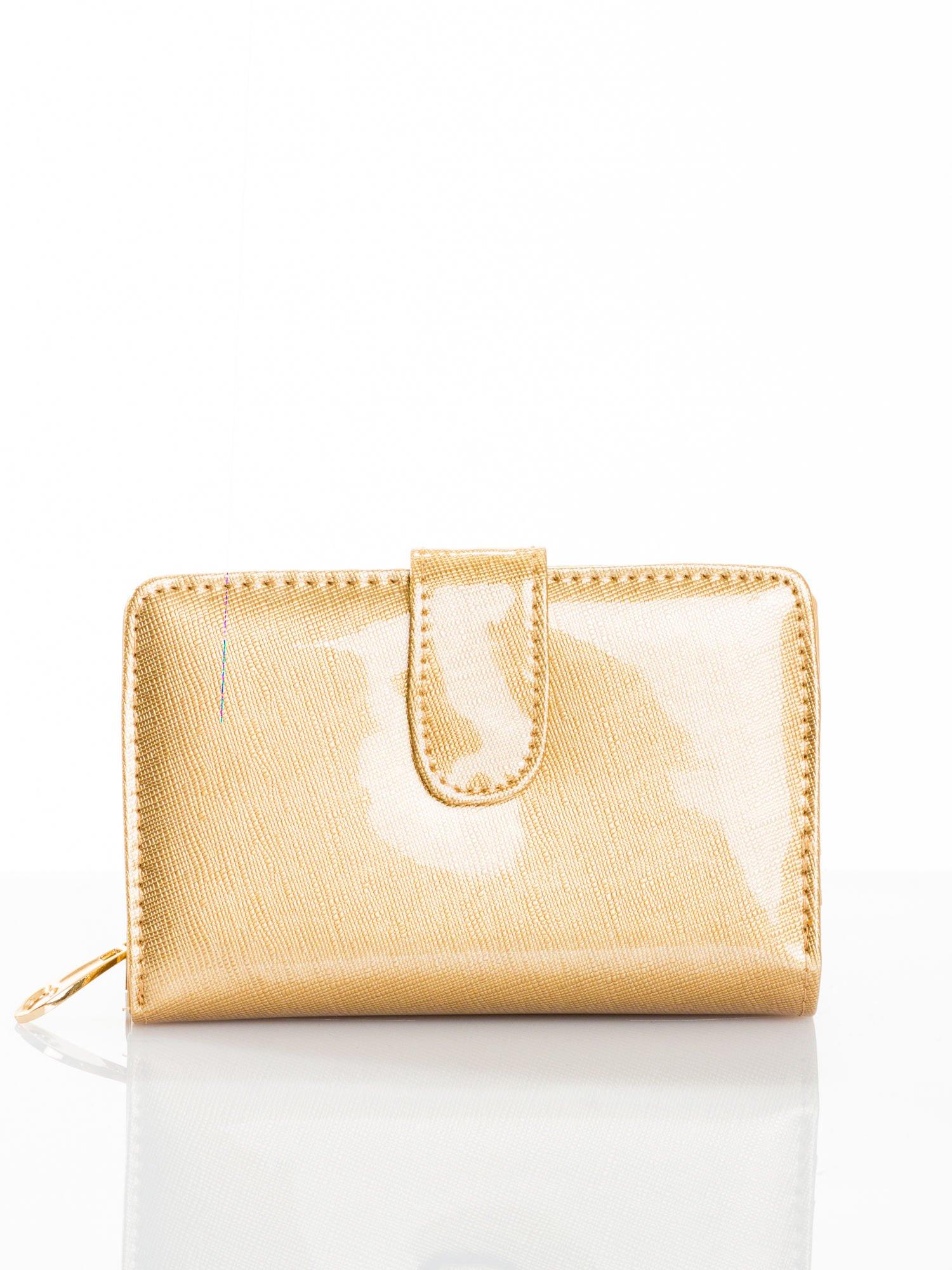 Złoty portfel efekt skóry saffiano                                  zdj.                                  1