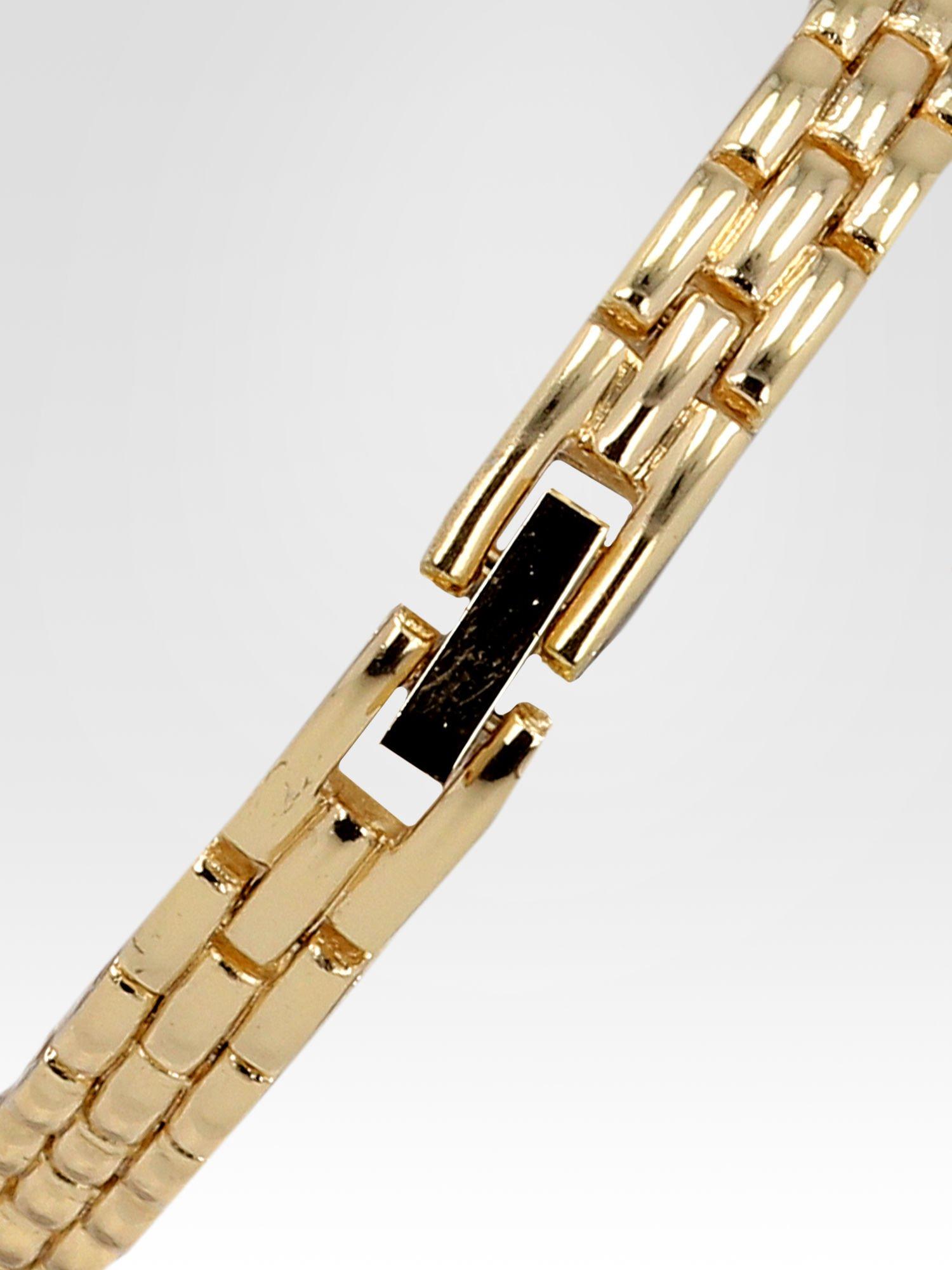Złoty zegarek biżuteryjny z czarną tarczą i cyrkoniami                                  zdj.                                  4