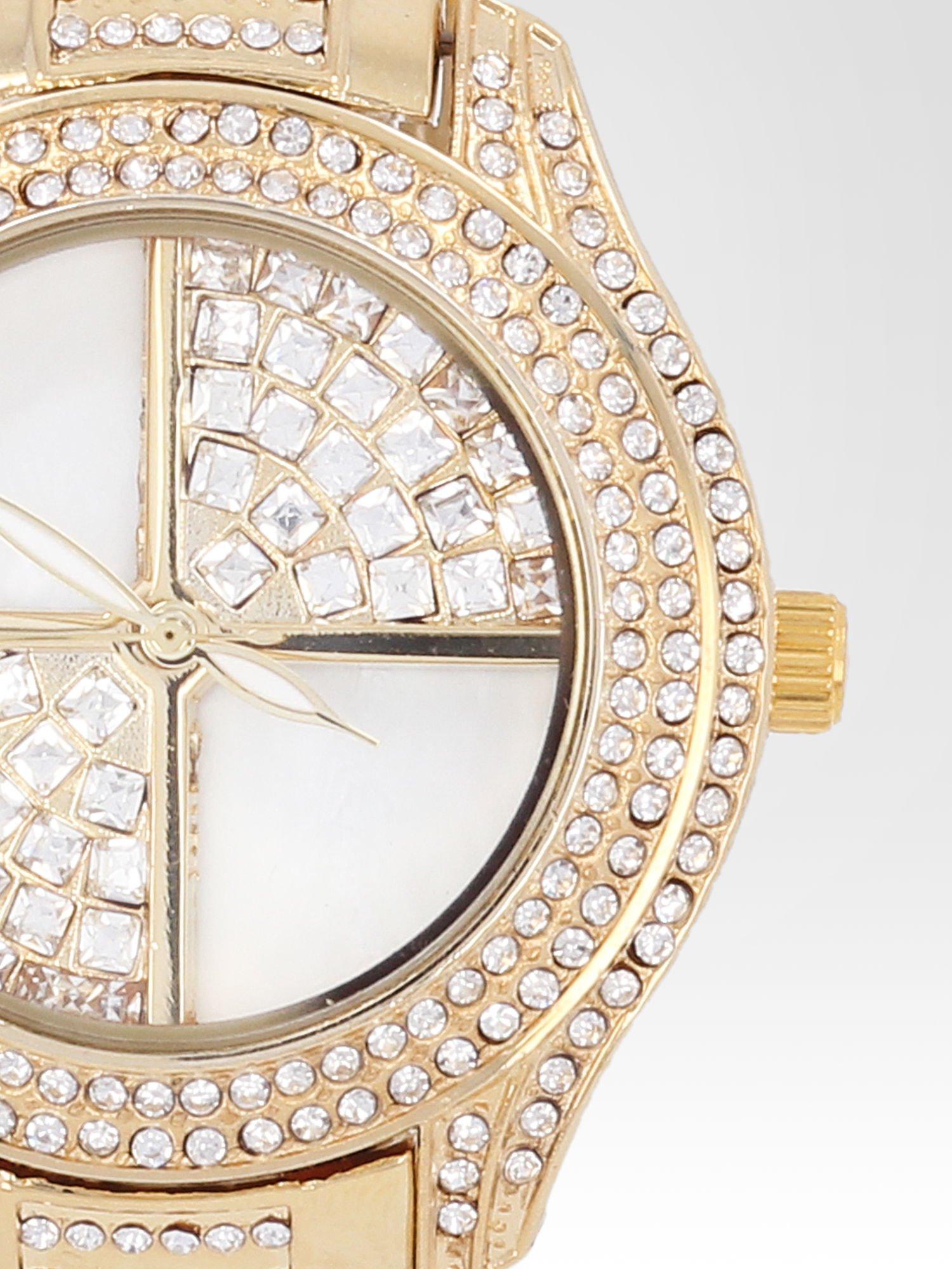 Złoty zegarek damski na bransolecie wysadzany cyrkoniami                                  zdj.                                  6