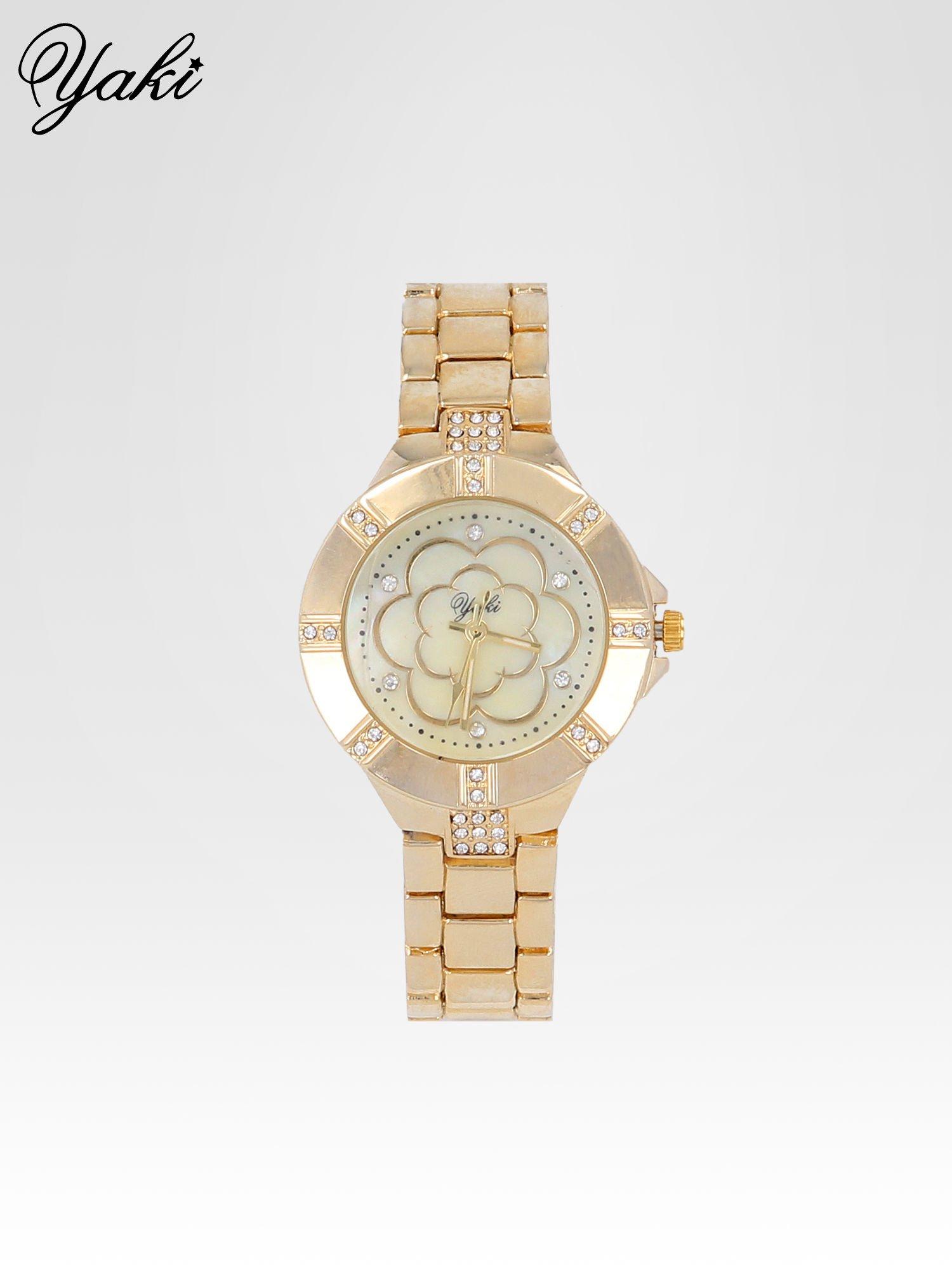 Złoty zegarek damski na bransolecie z cyrkoniami                                  zdj.                                  1