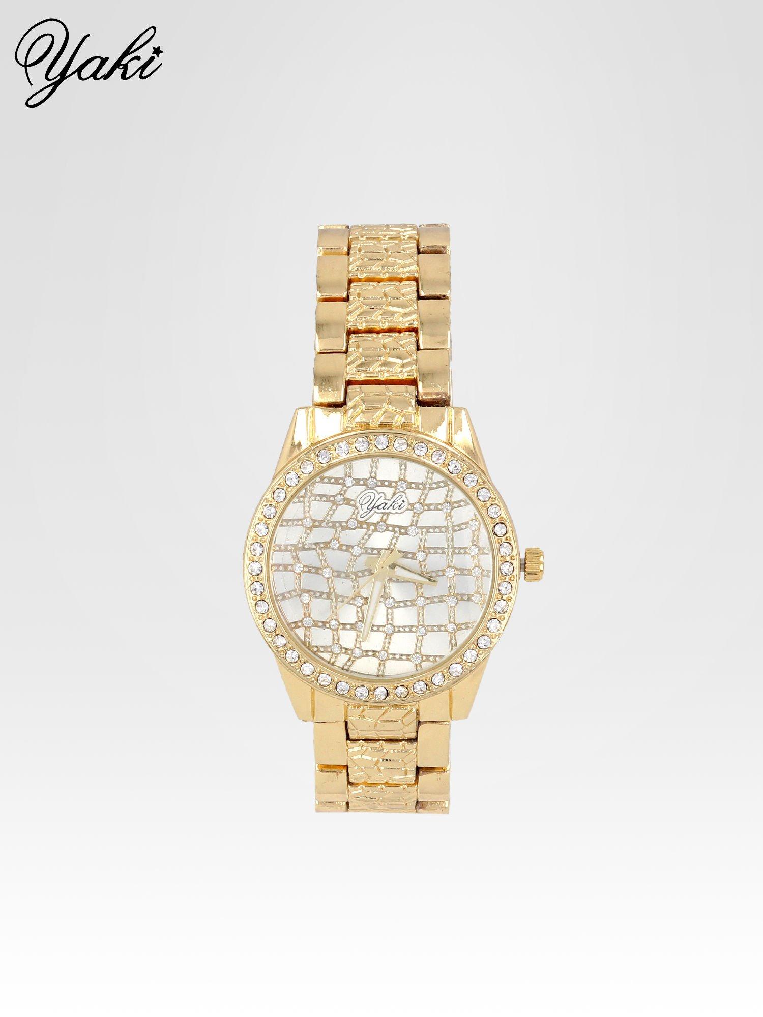 Złoty zegarek damski na bransolecie z cyrkoniową kopertą                                  zdj.                                  1