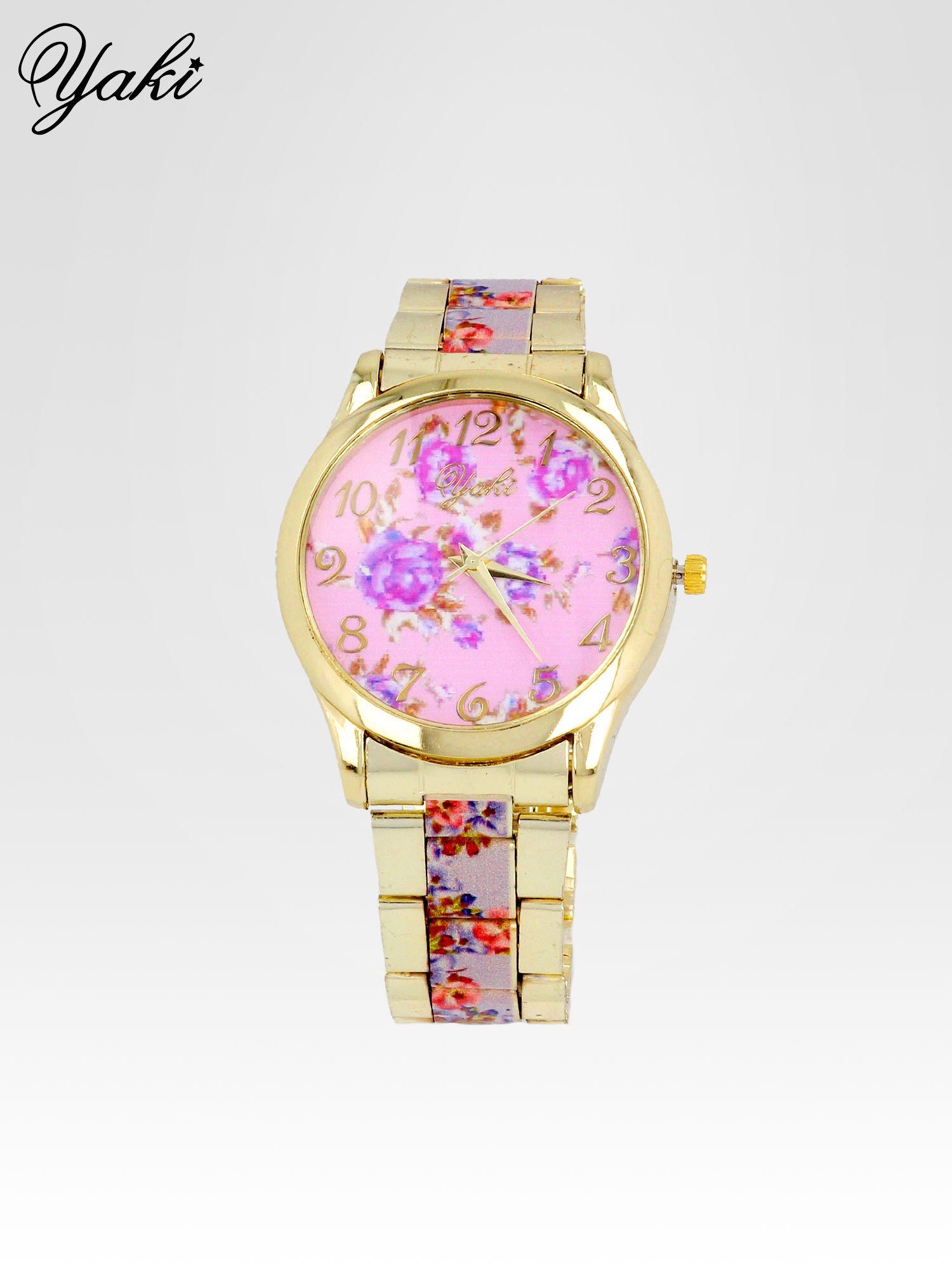 Złoty zegarek damski na bransolecie z jasnoóżowym motywem kwiatowym                                  zdj.                                  1