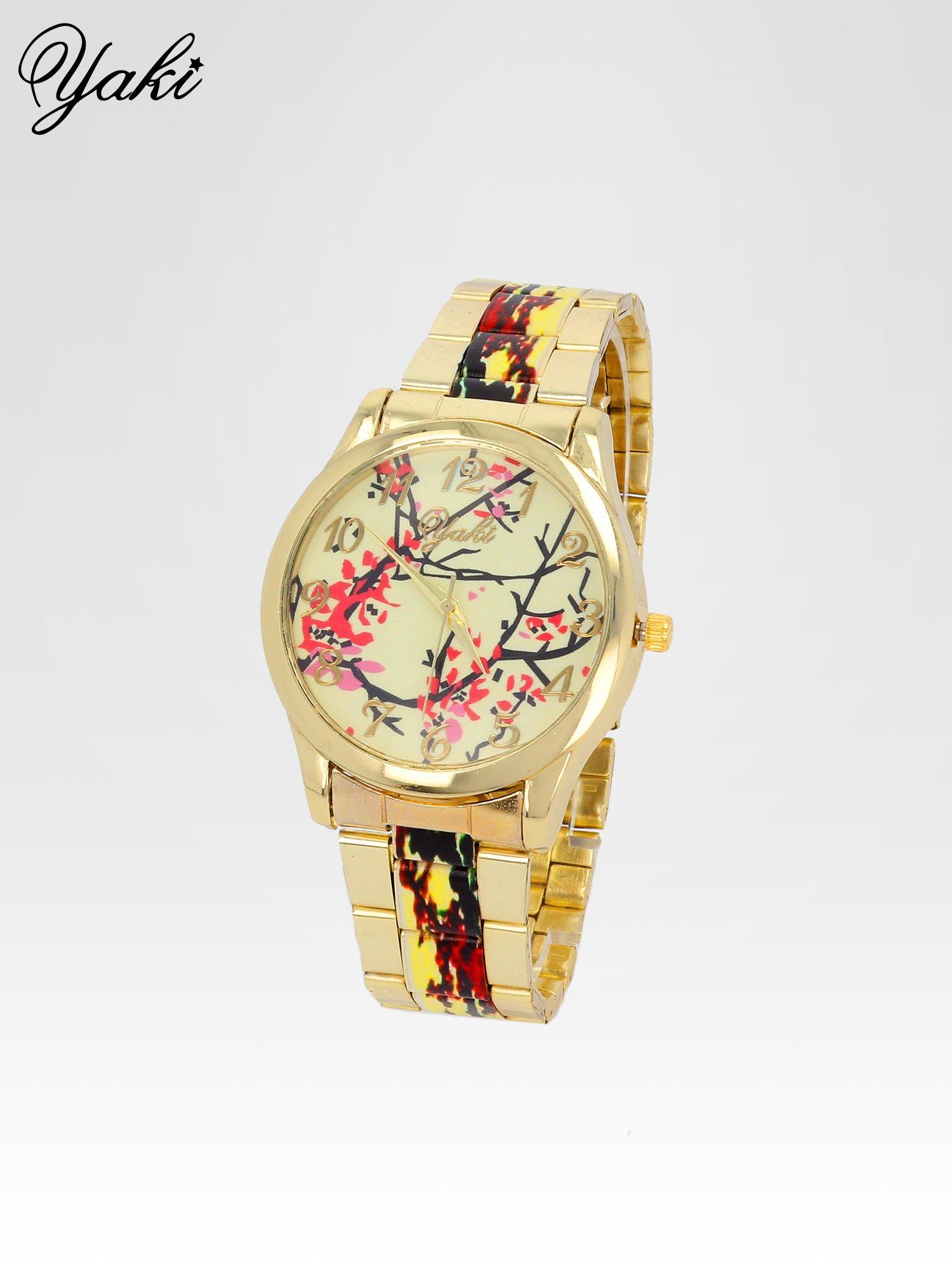 Złoty zegarek damski na bransolecie z motywem roślinnym                                  zdj.                                  2