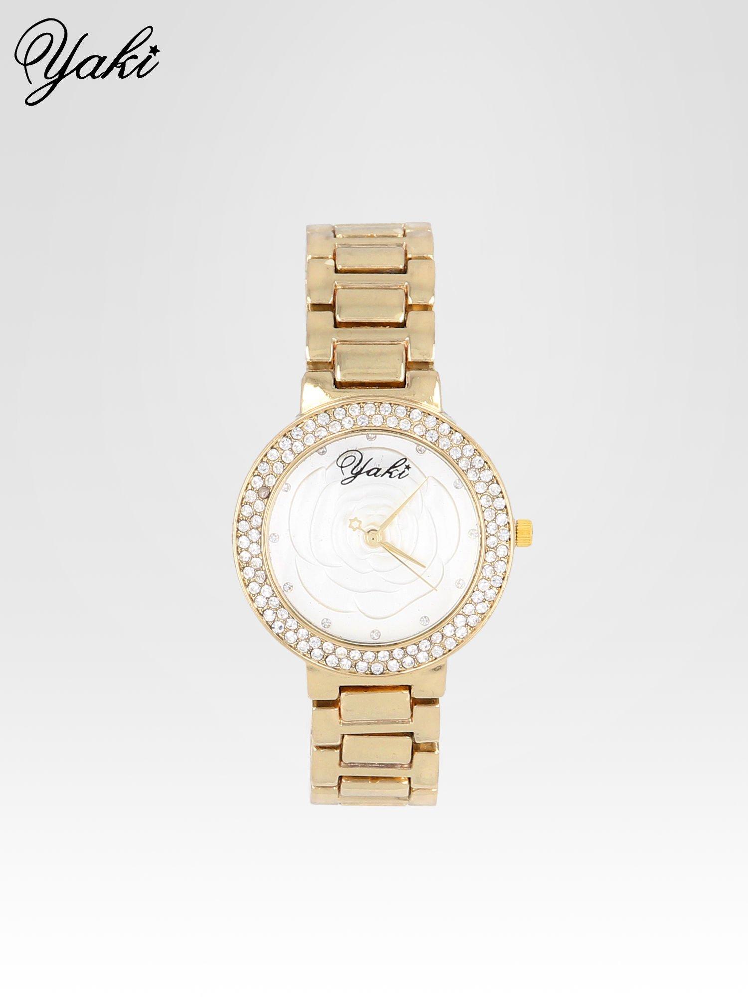 Złoty zegarek damski na bransolecie z różą na tarczy                                  zdj.                                  1