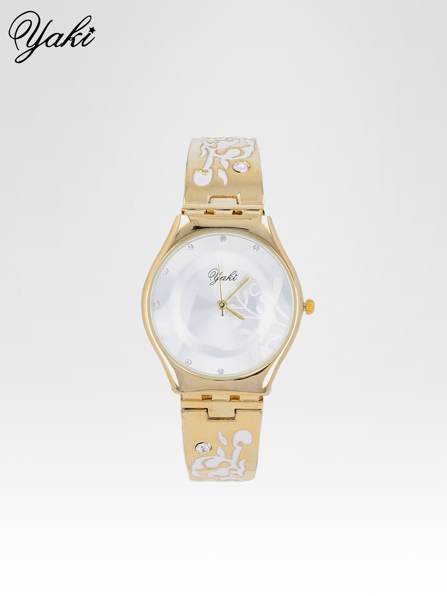 Złoty zegarek damski na bransolecie z subtelnym zdobieniem                                  zdj.                                  1