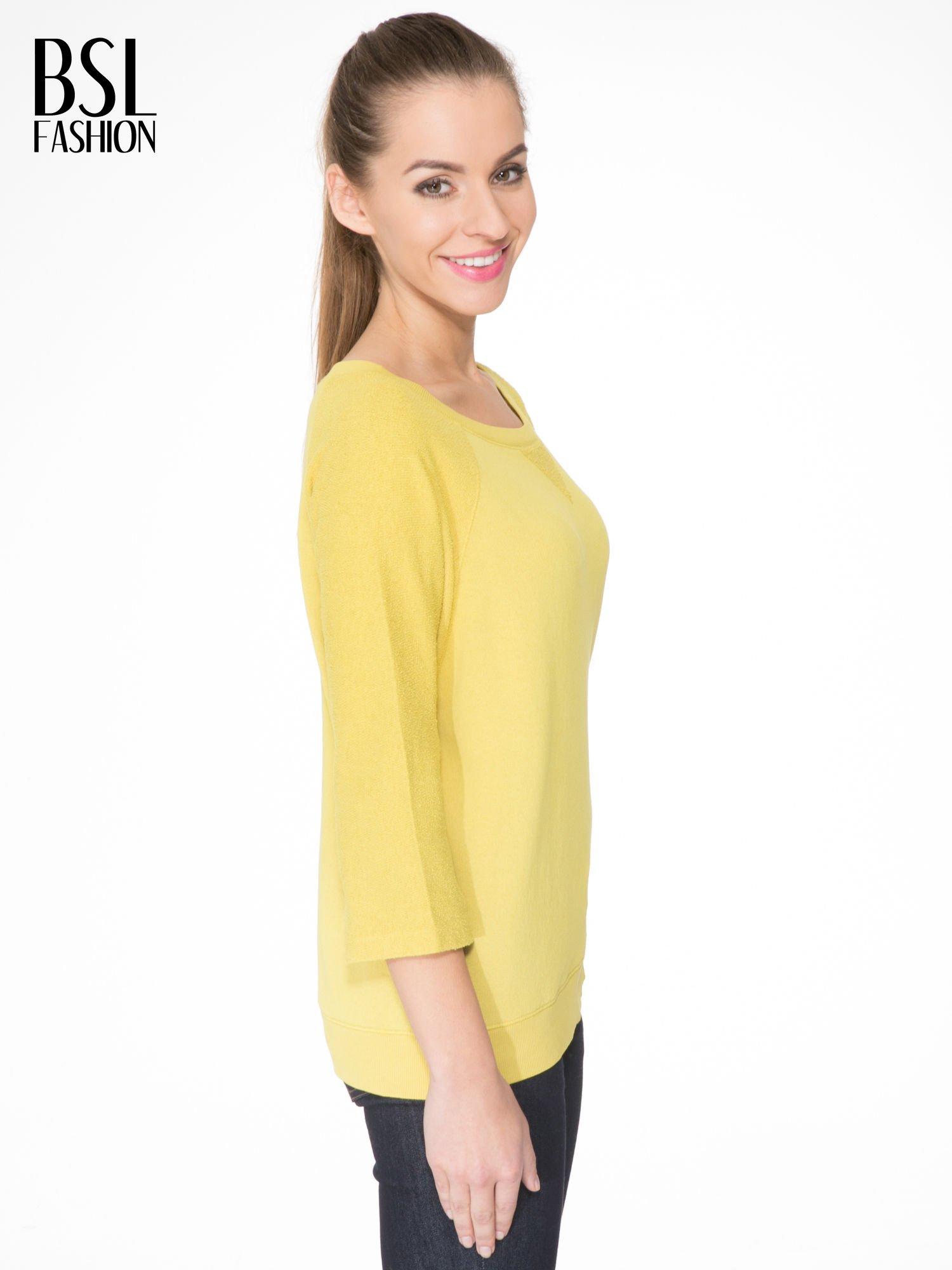 Żółta bluza oversize z łączonych materiałów                                  zdj.                                  3