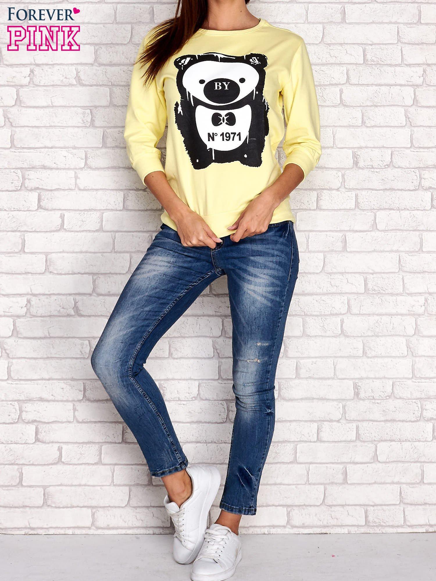 Żółta bluza z nadrukiem pandy                                  zdj.                                  2
