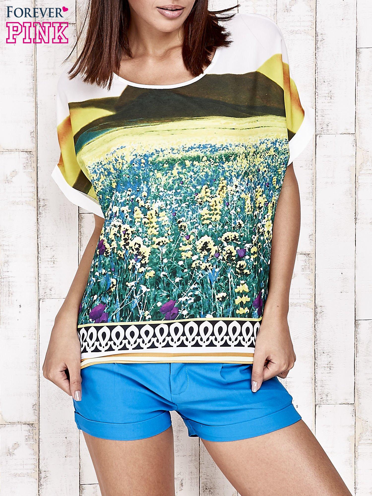 Żółta bluzka koszulowa z nadrukiem łąki                                   zdj.                                  1