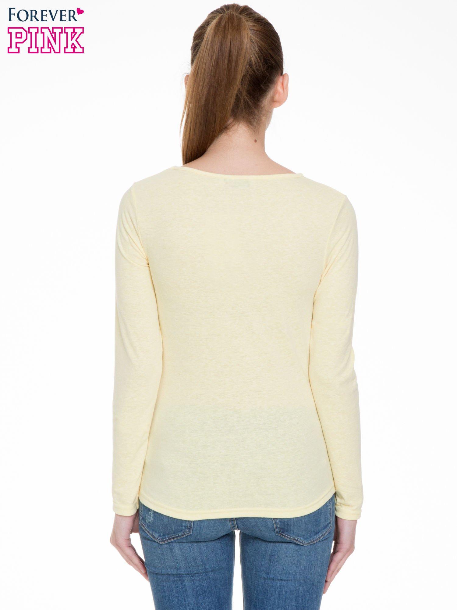 Żółta bluzka z długim rękawem z bawełny                                  zdj.                                  4