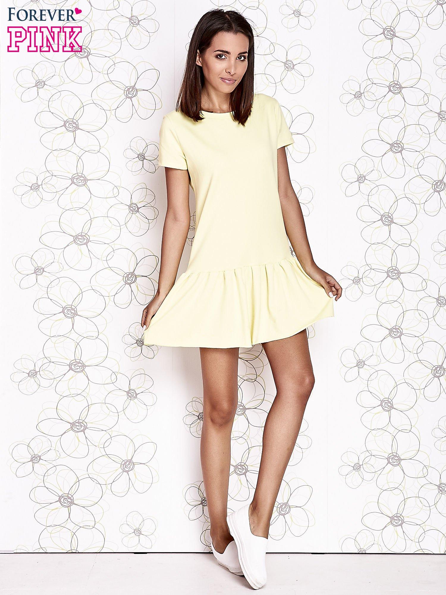 Żółta dresowa sukienka z wycięciem na plecach                                   zdj.                                  4