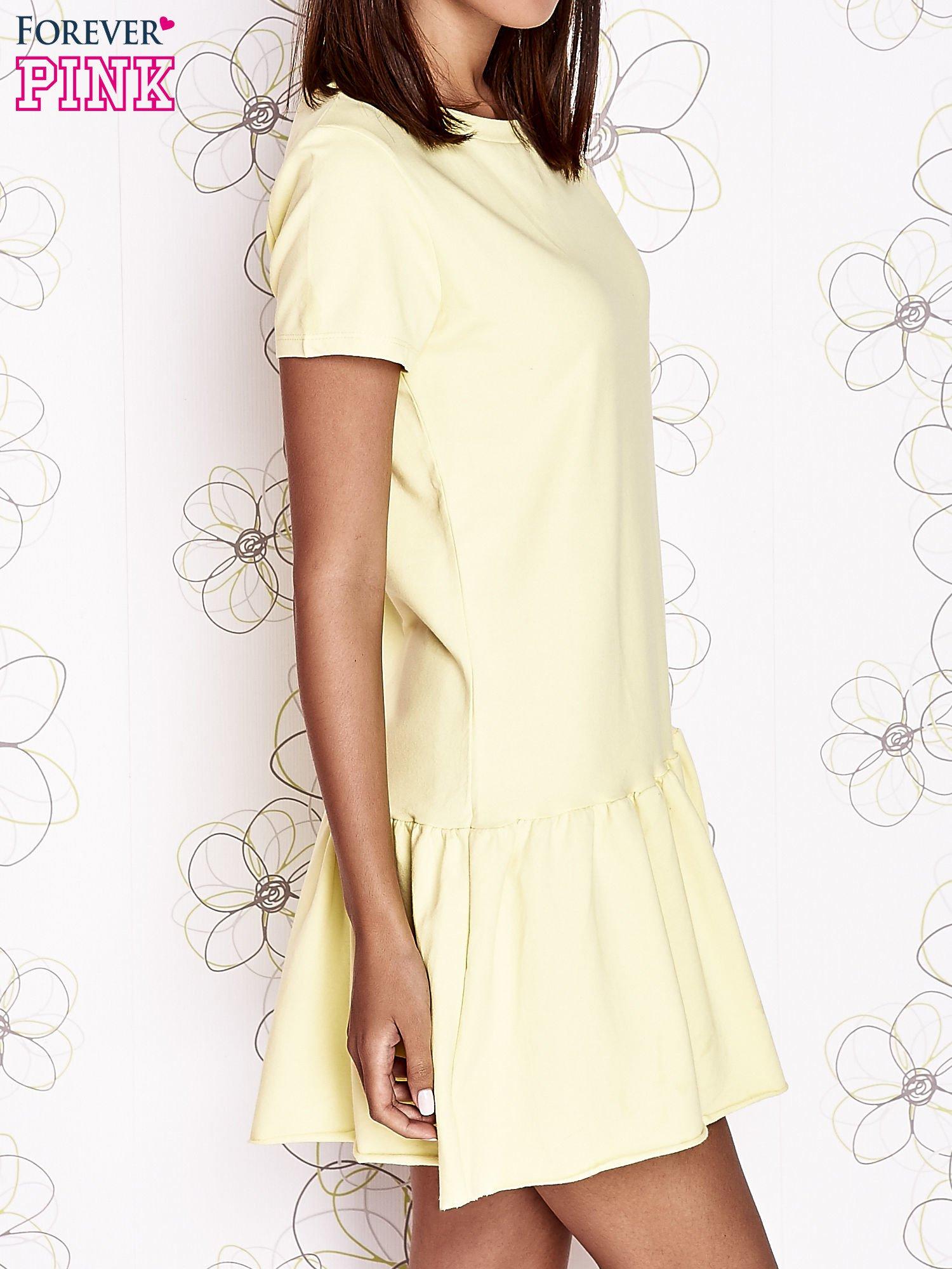 Żółta dresowa sukienka z wycięciem na plecach                                   zdj.                                  3