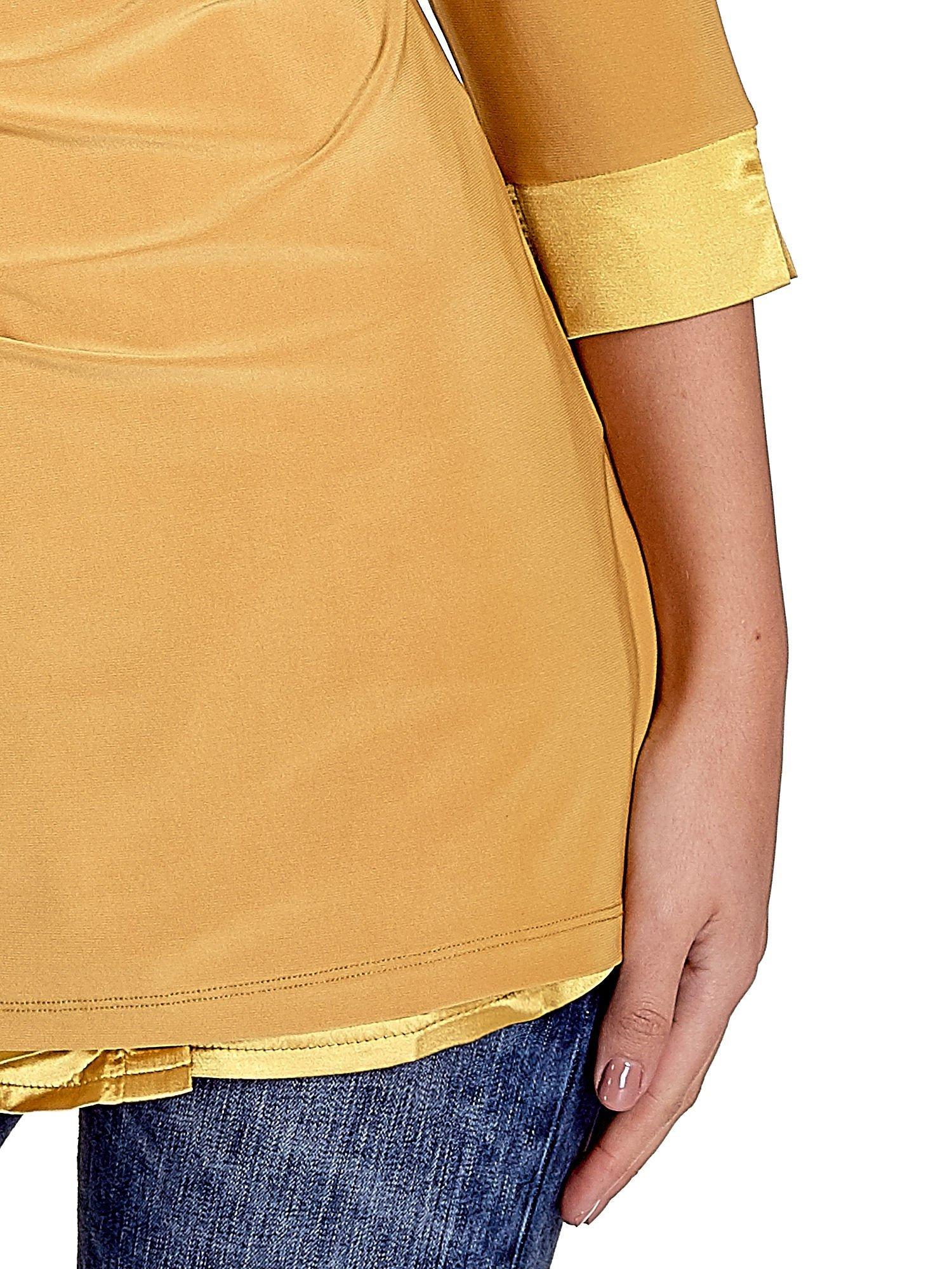 Żółta dwuwarstwowa koszula z rękawem 3/4                                  zdj.                                  5
