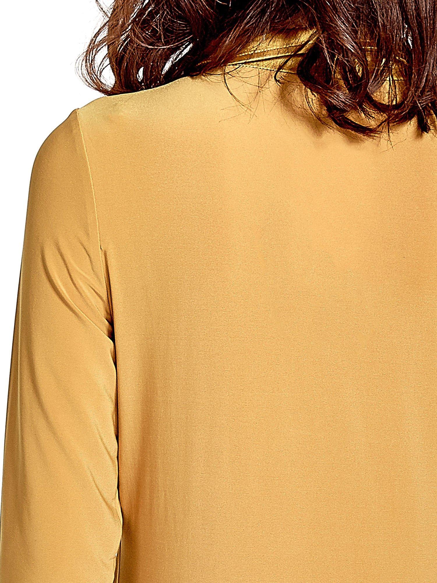 Żółta dwuwarstwowa koszula z rękawem 3/4                                  zdj.                                  8