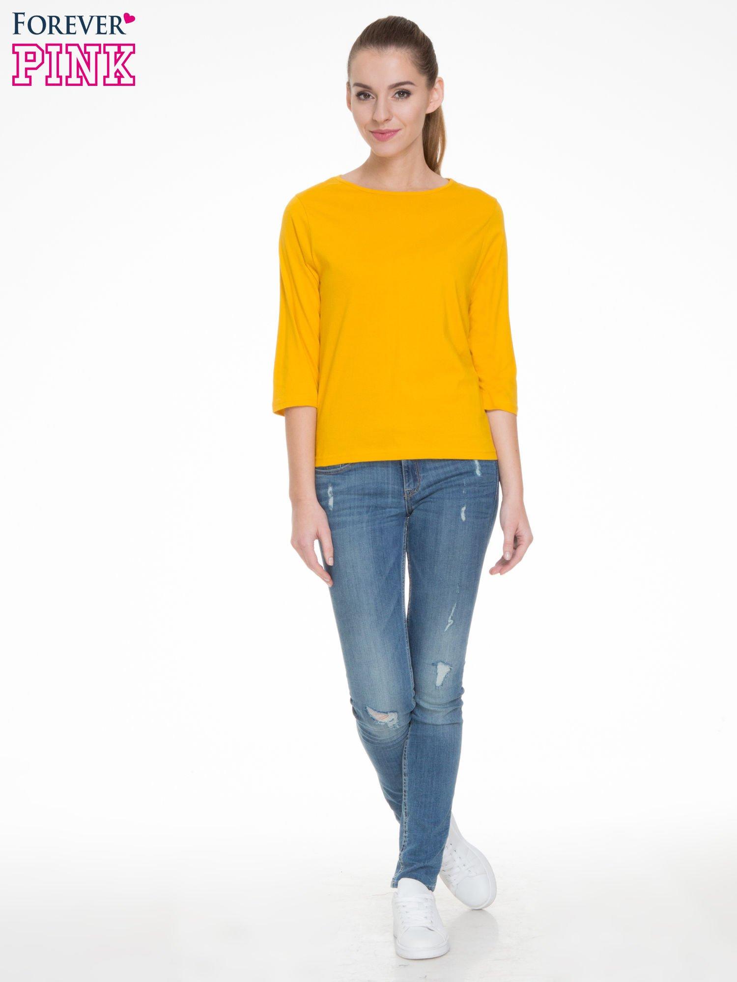 Żółta gładka bluzka z rękawem 3/4                                  zdj.                                  2