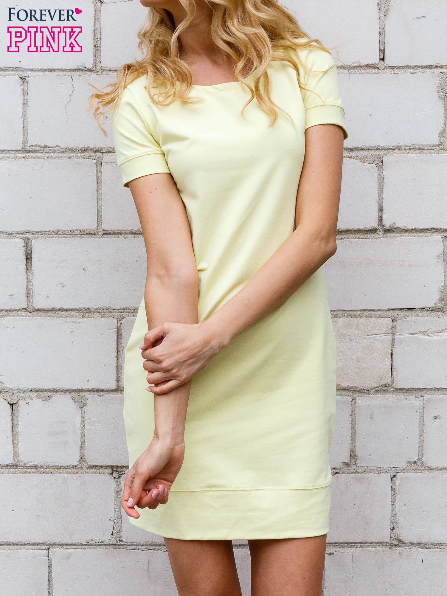 Żółta gładka sukienka ze ściągaczem na dole                                  zdj.                                  3