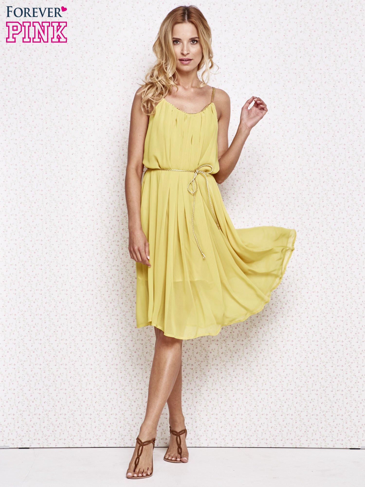 Żółta grecka sukienka ze złotym paskiem                                  zdj.                                  2