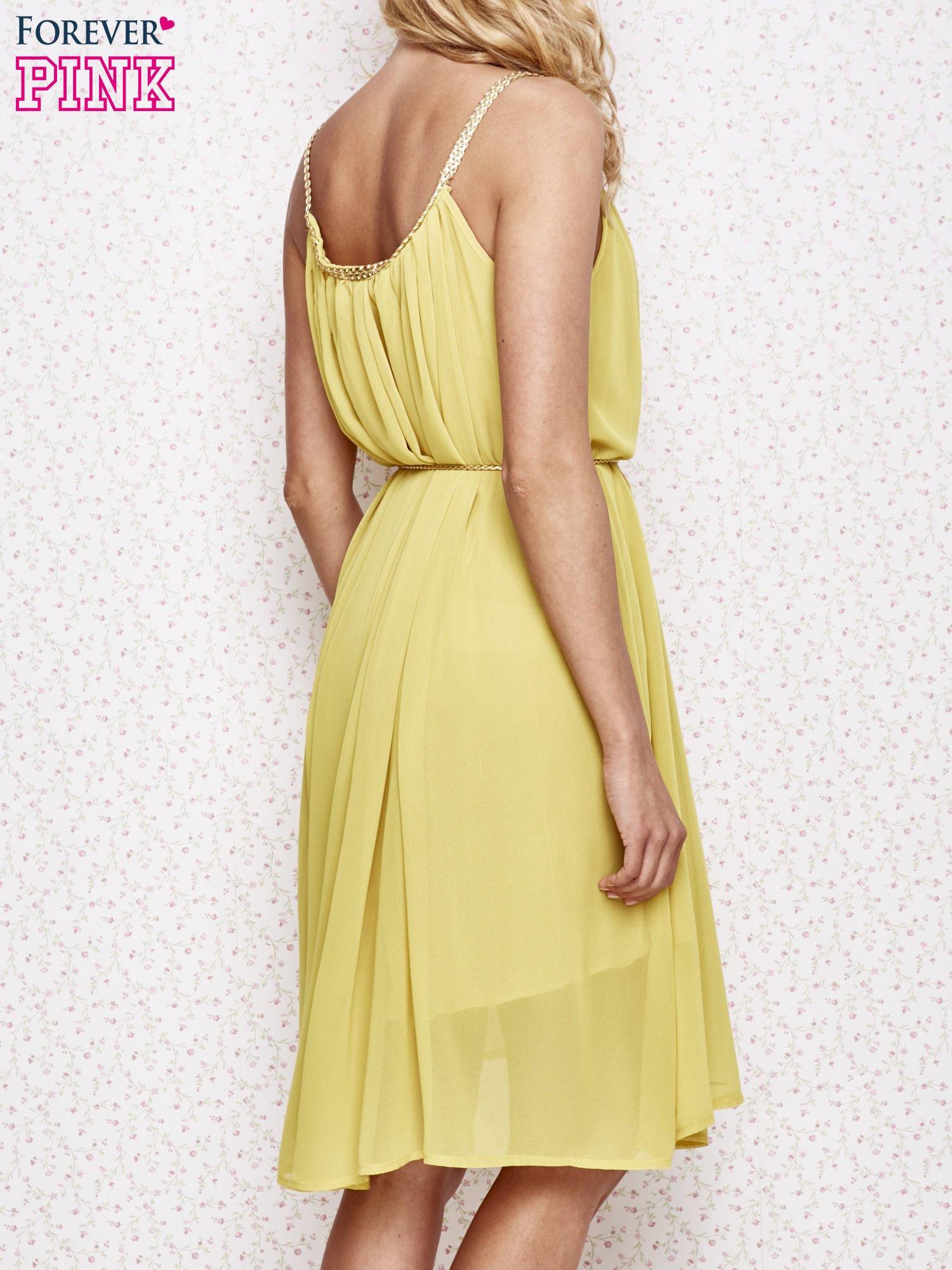 Żółta grecka sukienka ze złotym paskiem                                  zdj.                                  4