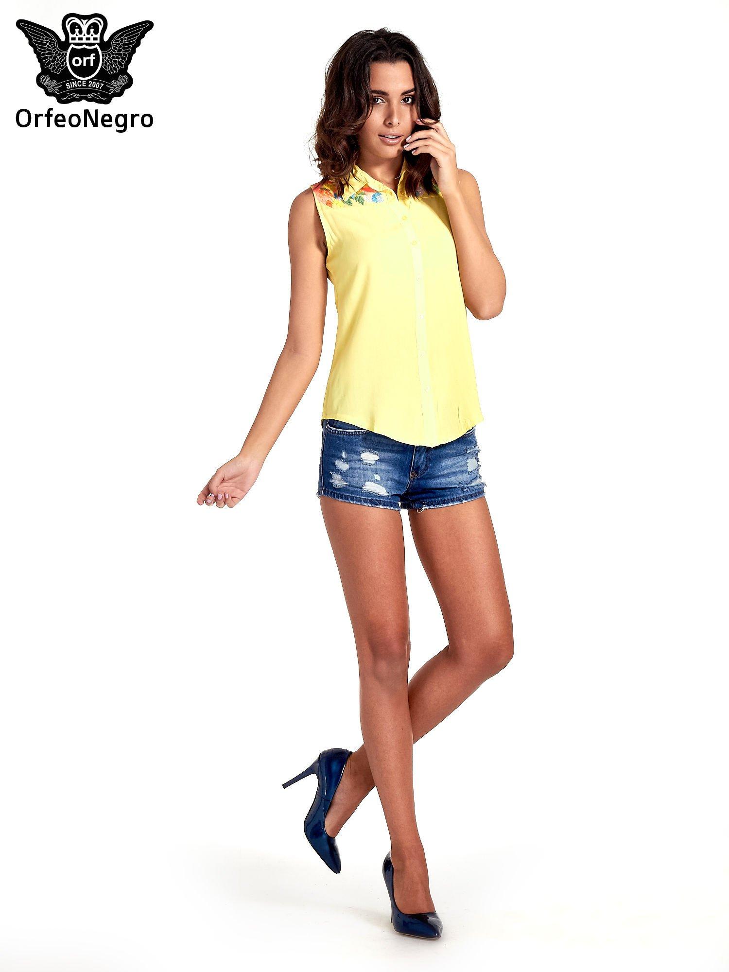 Żółta koszula bez rękawów z roślinnym haftem na górze                                  zdj.                                  7