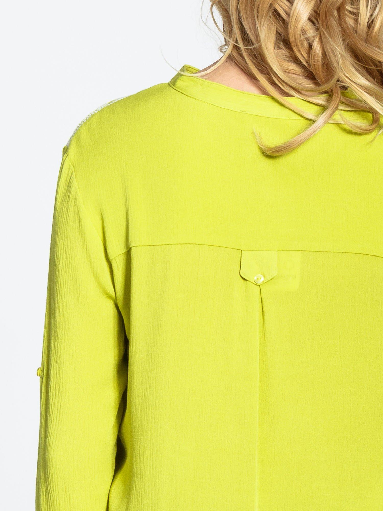 Żółta koszula damska z haftem na ramionach                                  zdj.                                  6