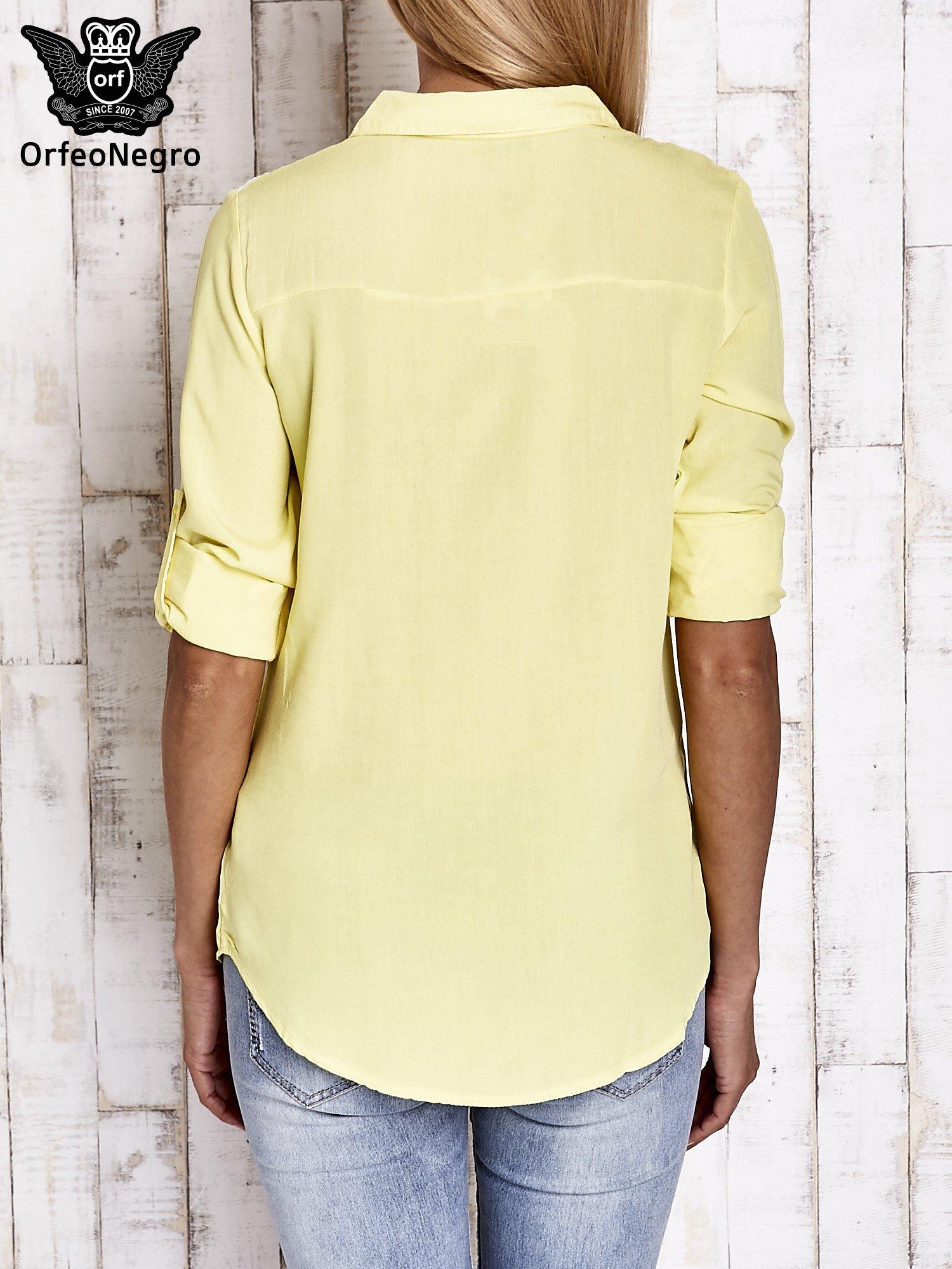 Żółta koszula damska z koronkową górą                                  zdj.                                  2
