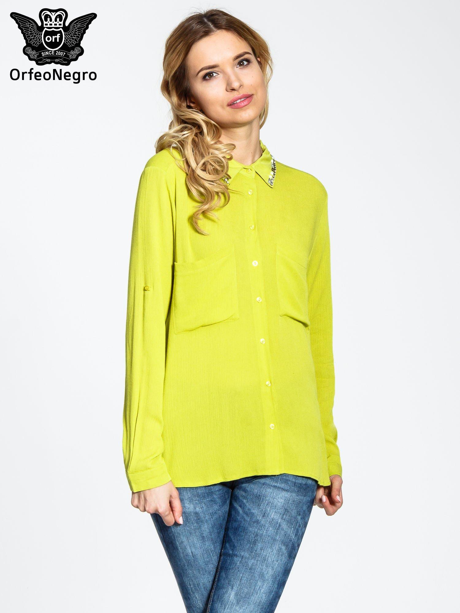 Żółta koszula z biżuteryjnym kołnierzykiem i kieszonkami                                  zdj.                                  1