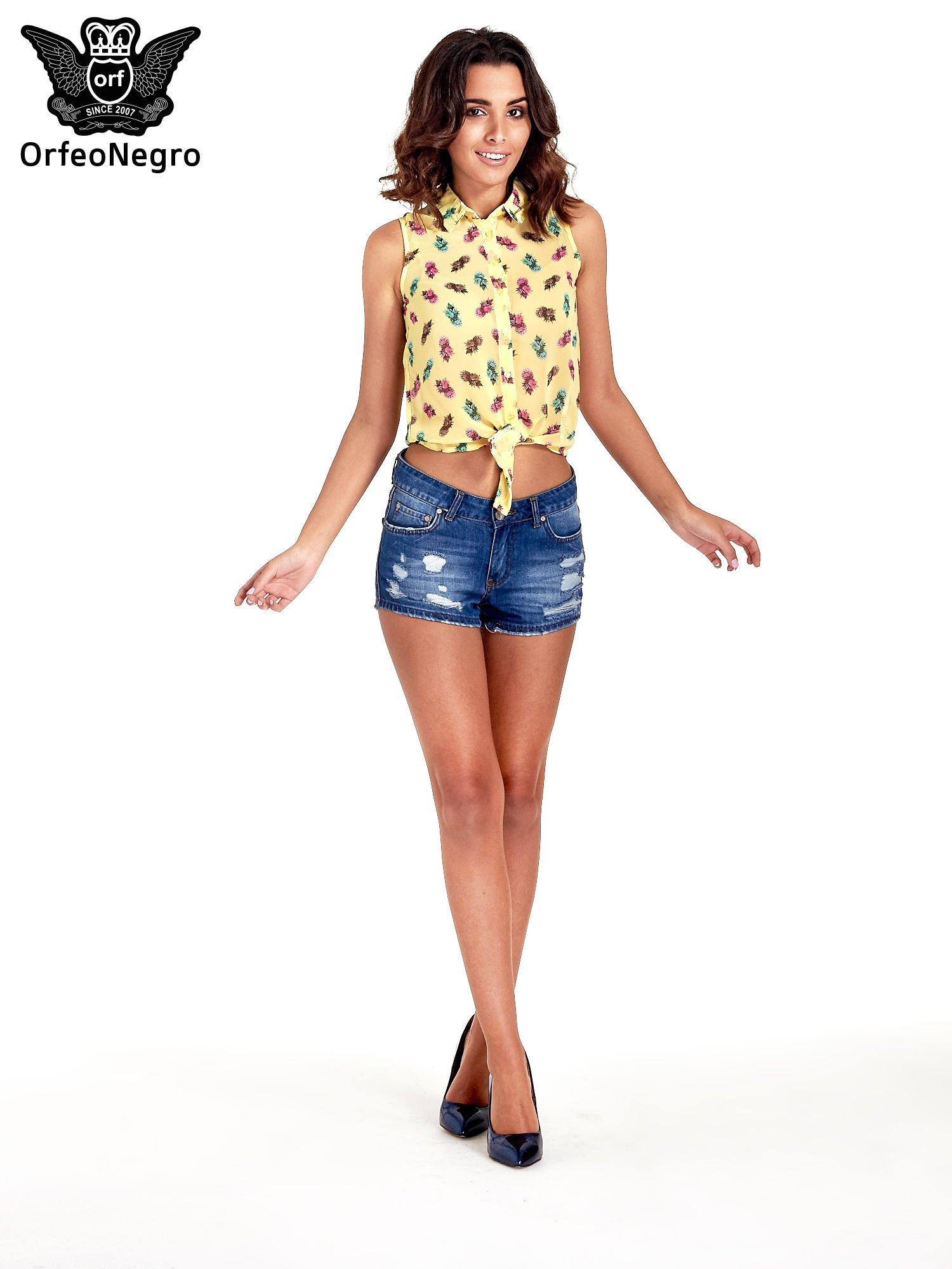 Żółta koszula z wiązaniem w ananasy                                  zdj.                                  5