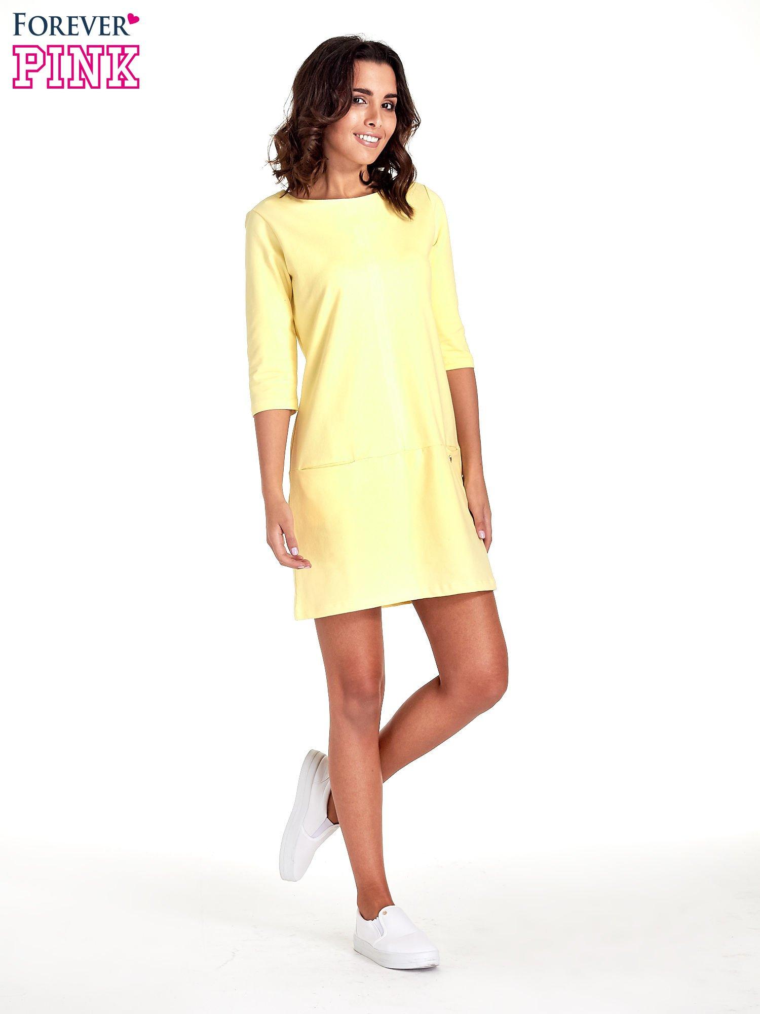 Żółta prosta sukienka z kieszeniami                                   zdj.                                  8