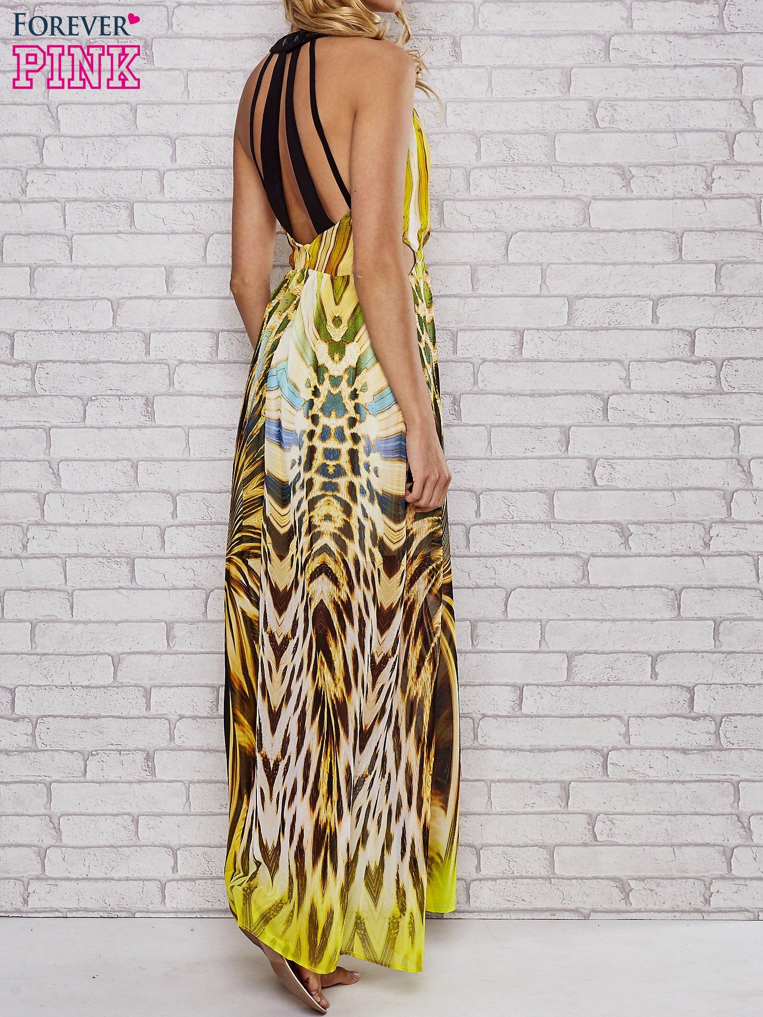 Żółta sukienka maxi z odkrytymi plecami                                  zdj.                                  2