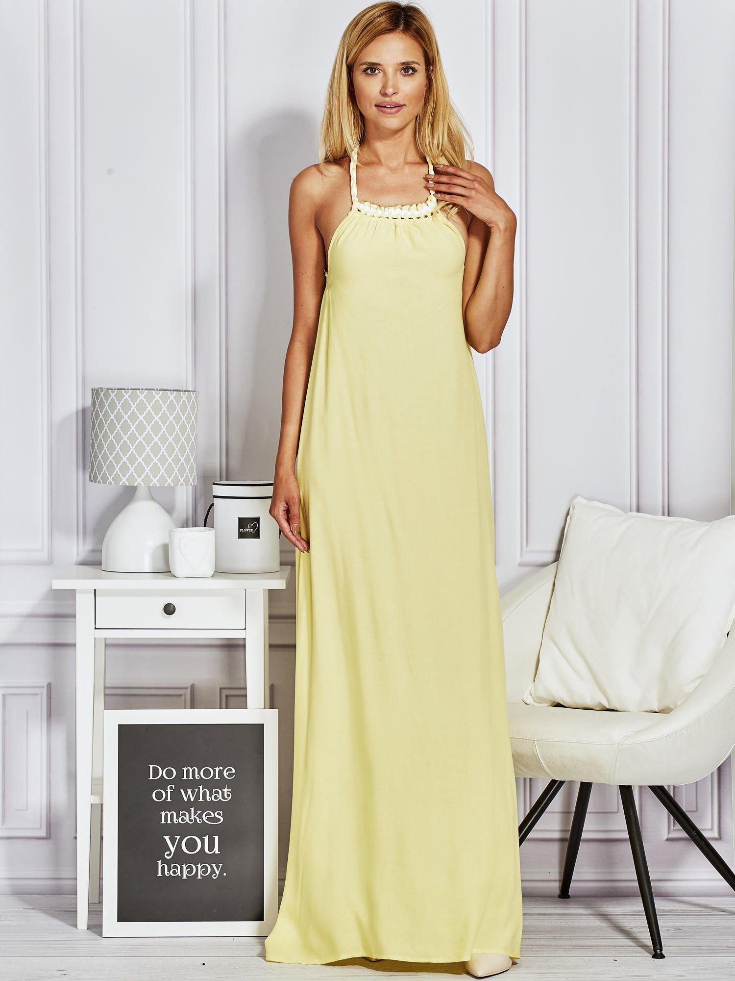 667e187625 Żółta sukienka maxi z wiązaniem na szyi - Sukienka na wesele - sklep ...