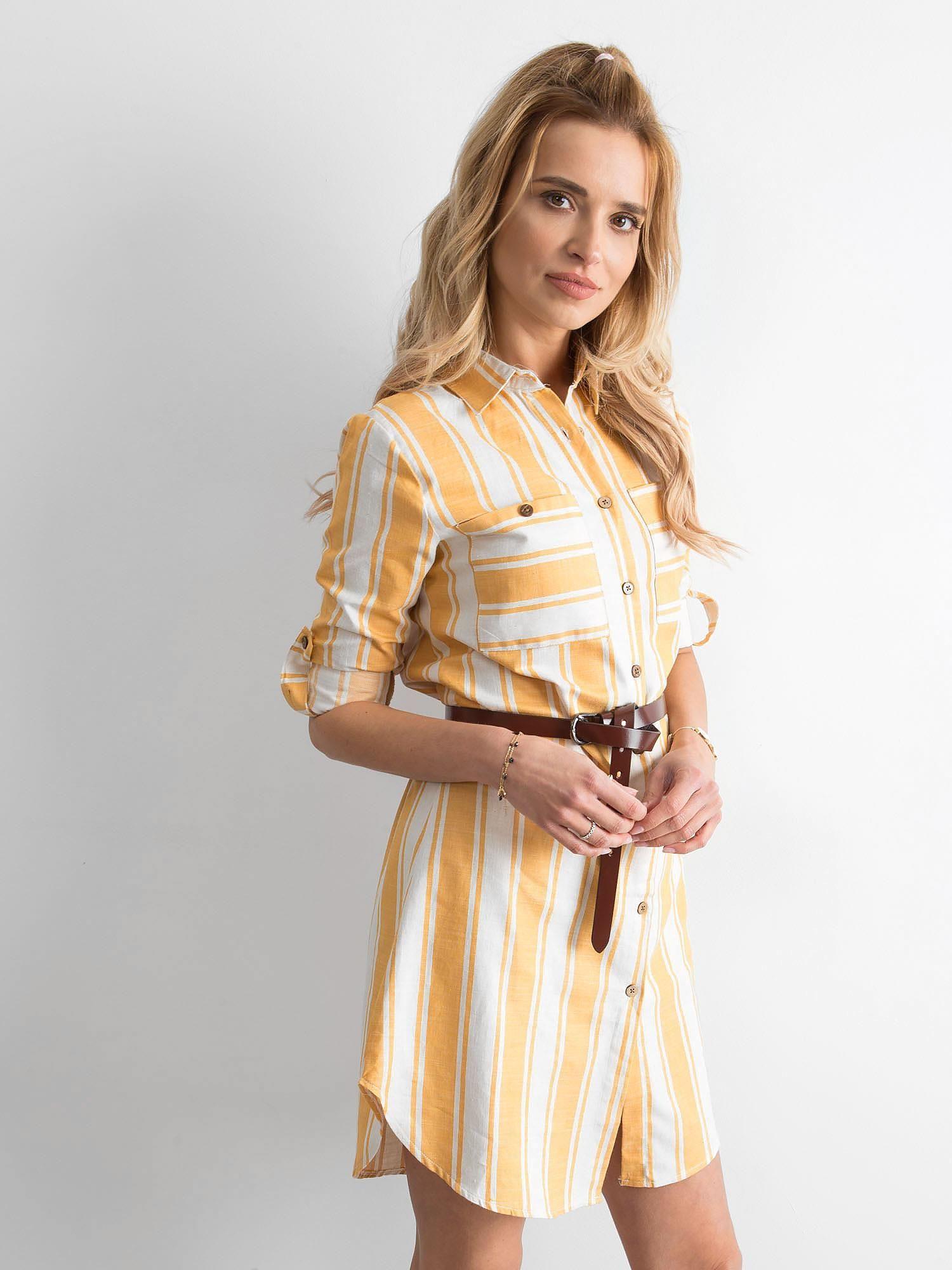 38422945b7 Żółta sukienka szmizjerka w paski - Sukienka szmizjerka - sklep ...
