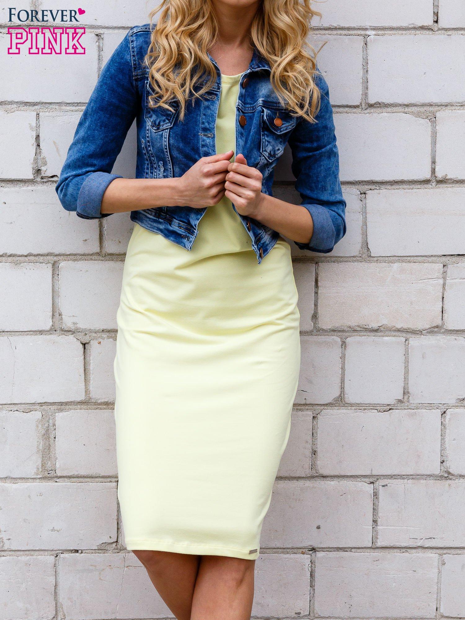 Żółta sukienka z rozcięciami na rękawach                                  zdj.                                  4