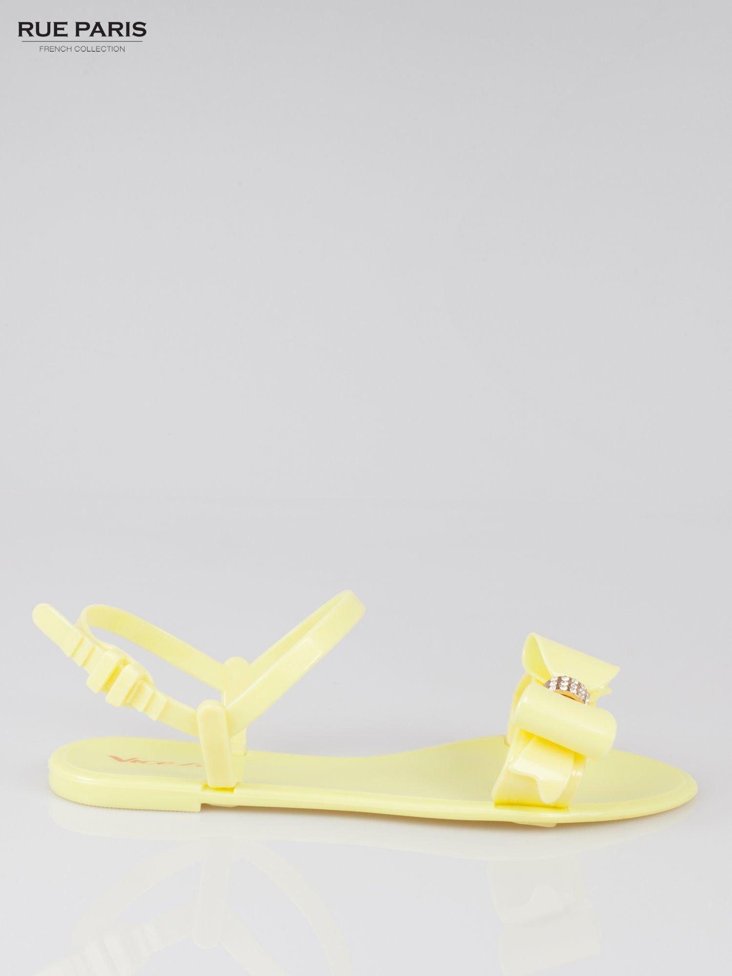 Żółte gumowe sandały meliski z kokardą Monique                                  zdj.                                  1