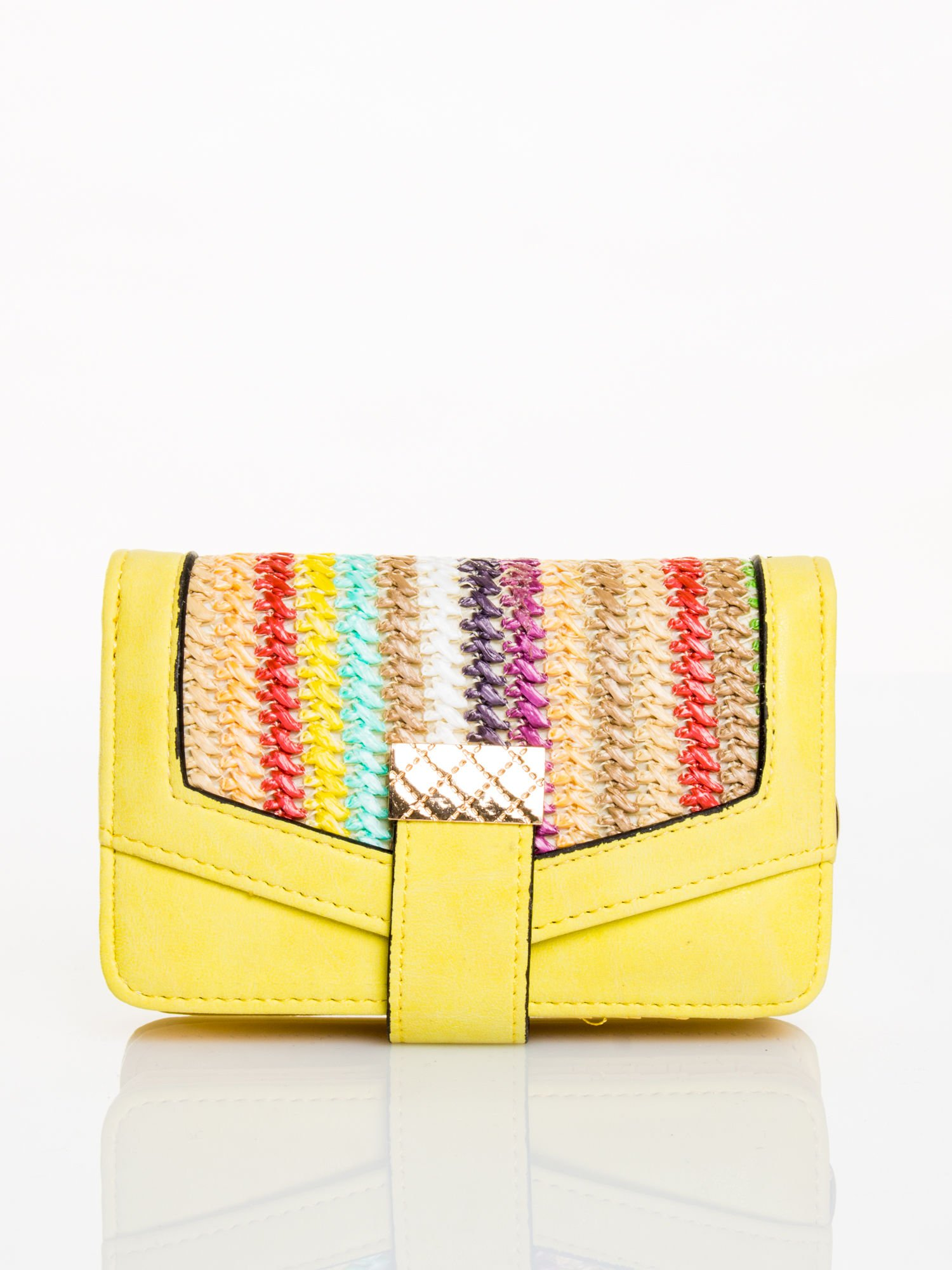 Żółty portfel z plecionką                                  zdj.                                  1