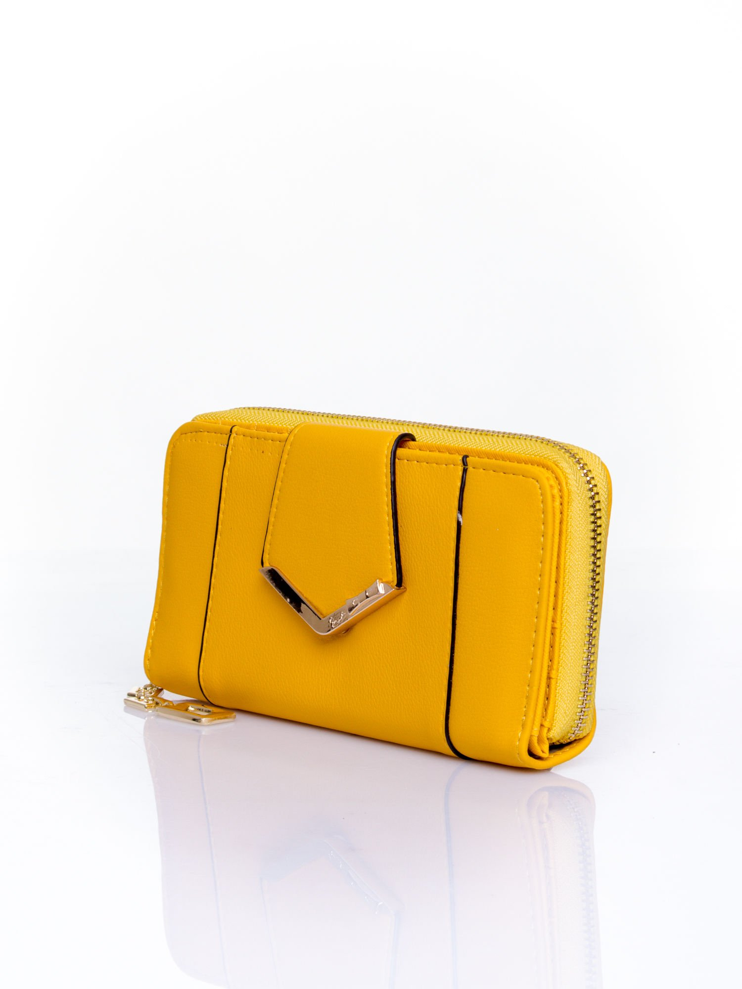 Żółty portfel ze złoconą klamrą                                  zdj.                                  3