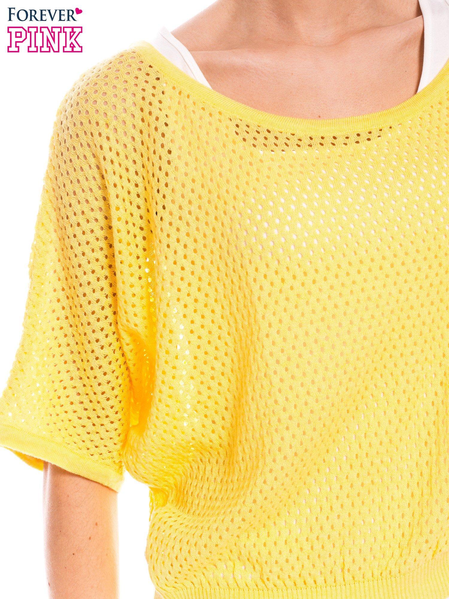 Żółty siateczkowy sweter oversize                                  zdj.                                  5