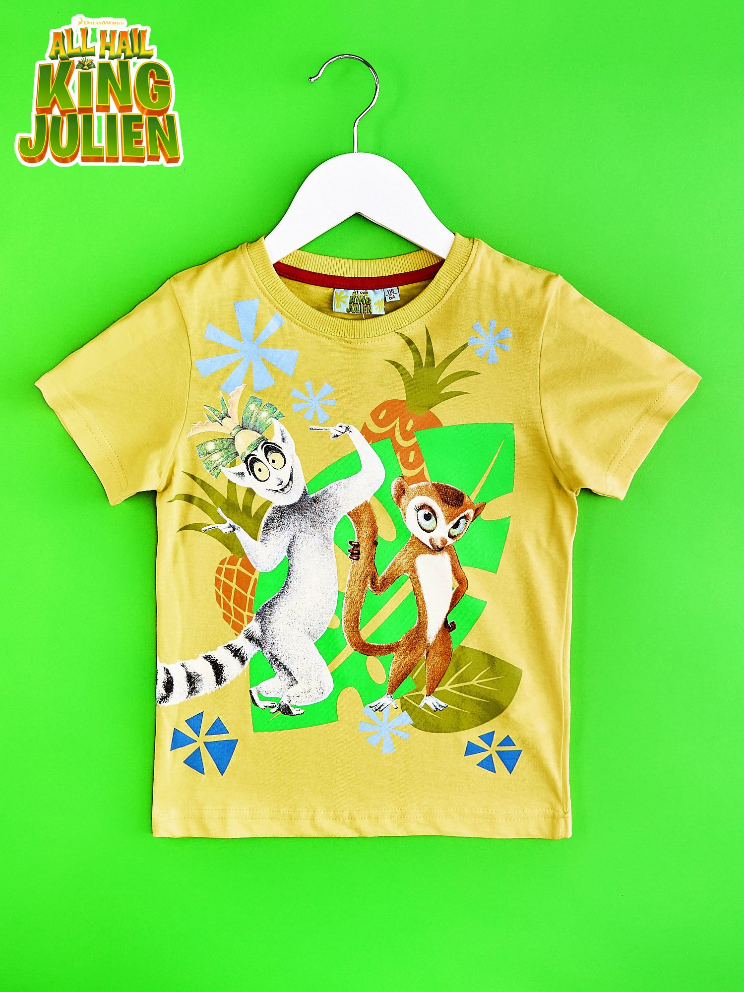 Żółty t-shirt chłopięcy KRÓL JULIAN                                  zdj.                                  1
