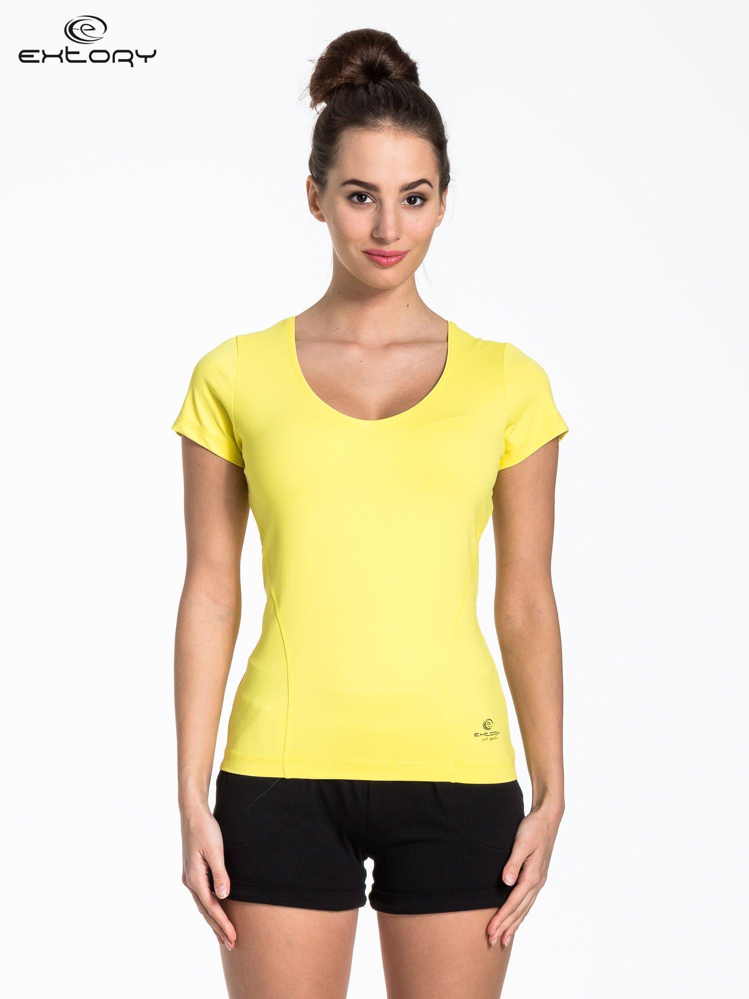 Żółty t-shirt sportowy basic                                  zdj.                                  1