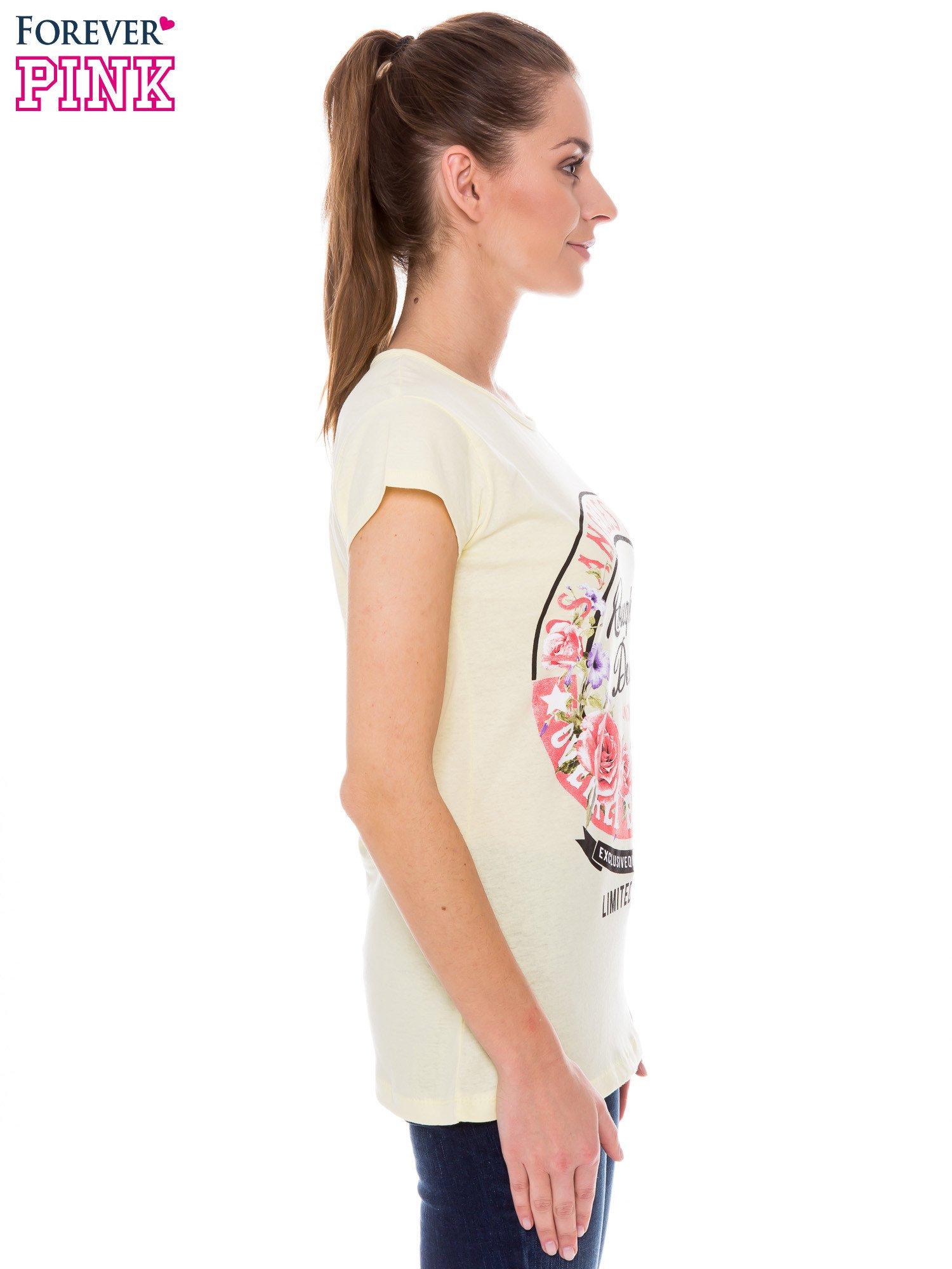 Żółty t-shirt z dziewczęcym nadrukiem ROUGH DENIM                                  zdj.                                  2