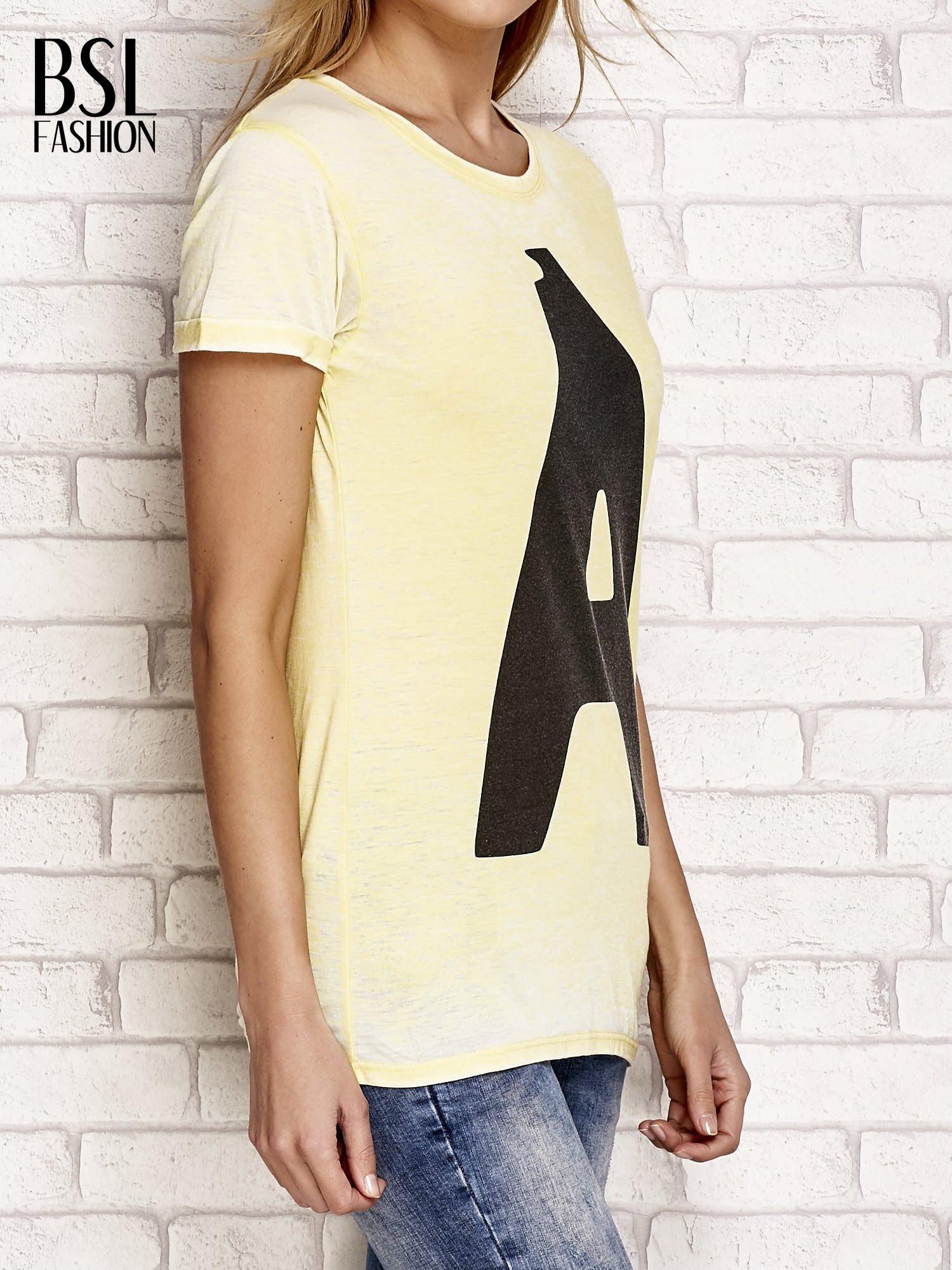 Żółty t-shirt z literą A                                  zdj.                                  3