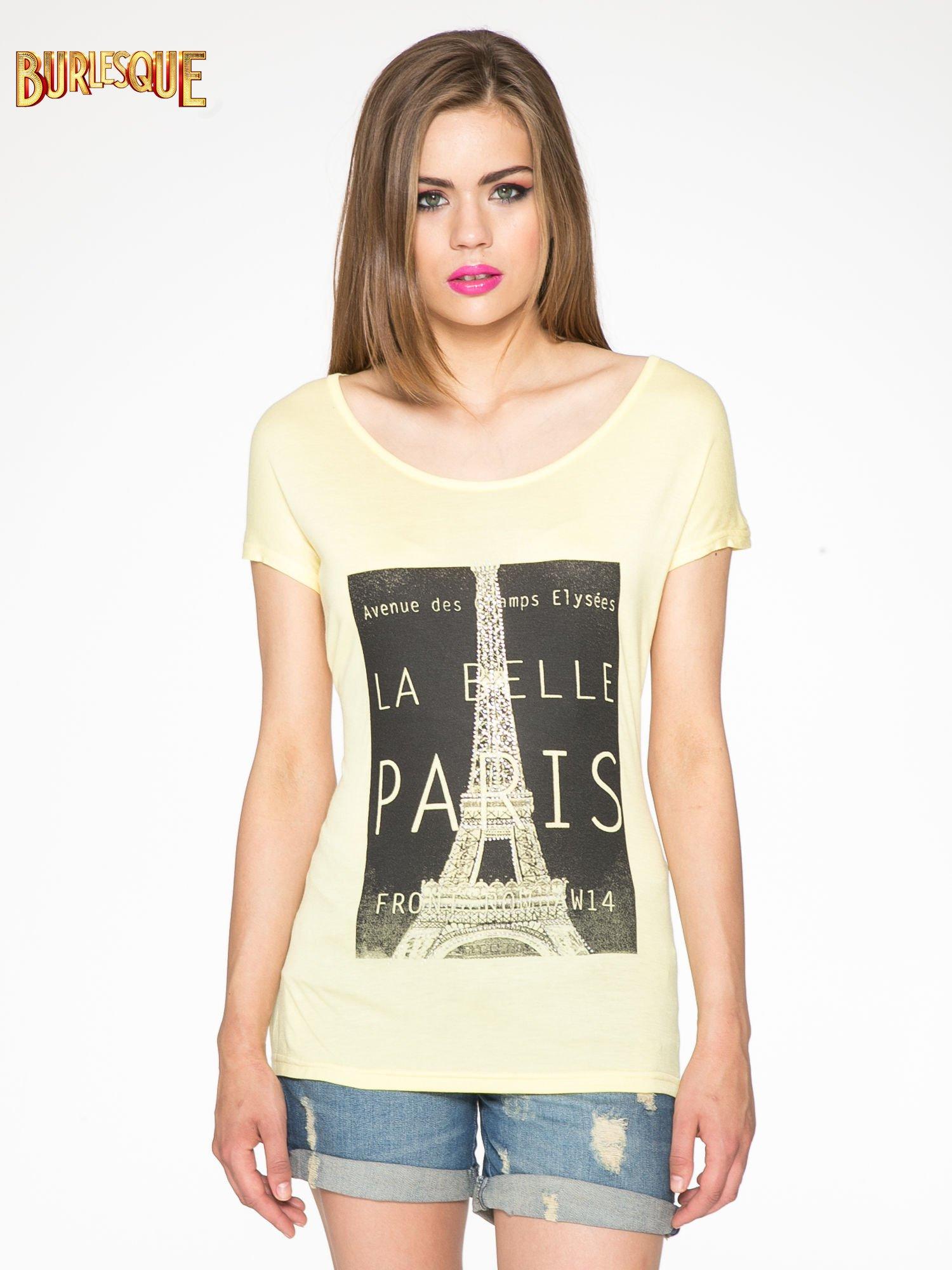 Żółty t-shirt z motywem Paryża                                  zdj.                                  12