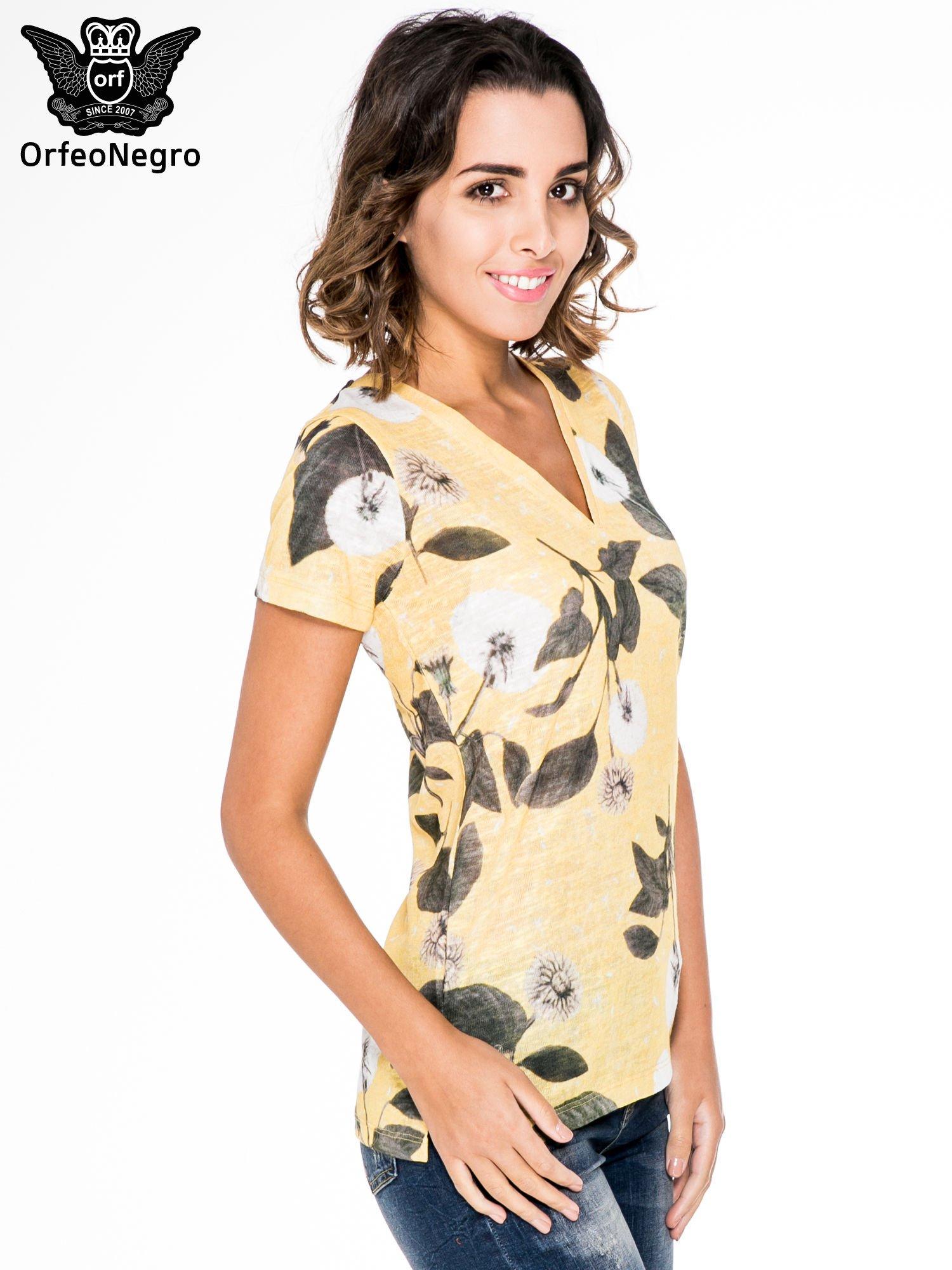 Żółty t-shirt z nadrukiem all over floral print                                  zdj.                                  3