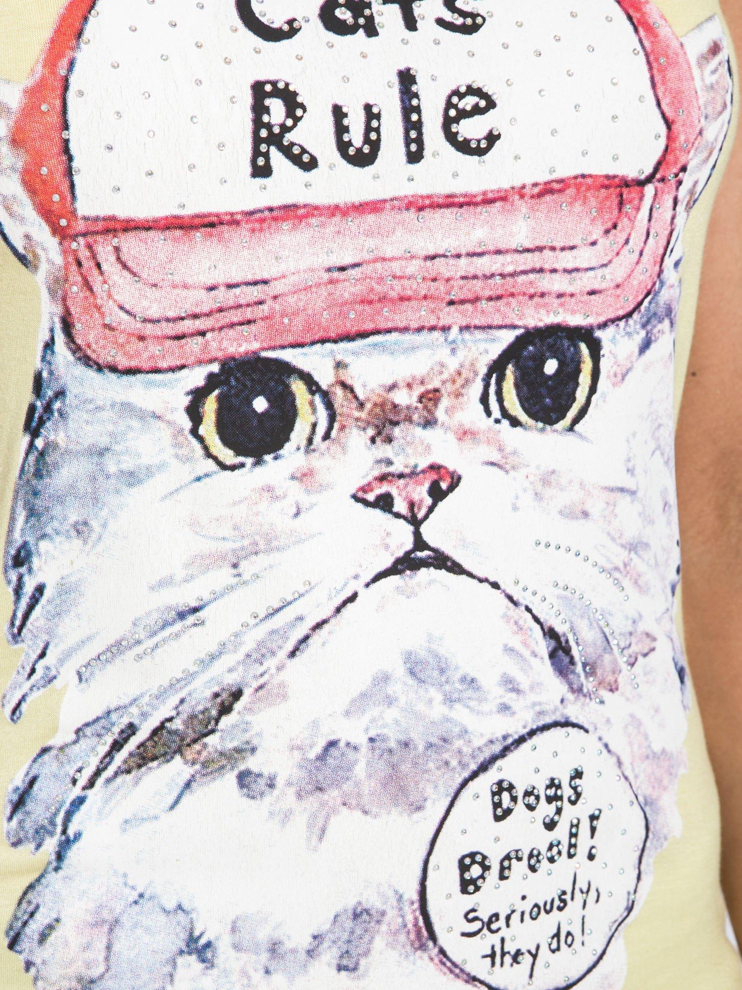 Żółty t-shirt z nadrukiem kota i napisem CATS RULE                                  zdj.                                  7