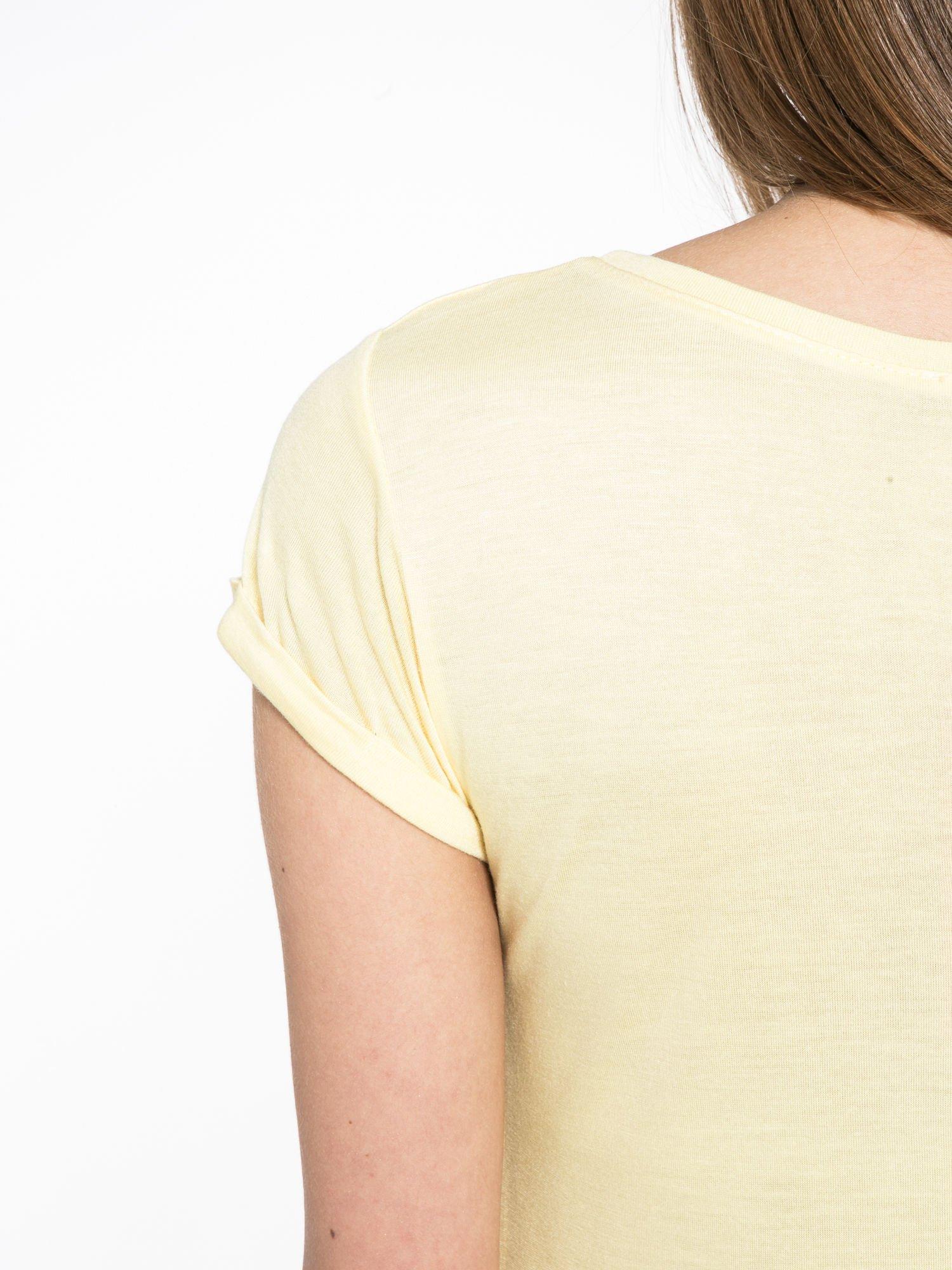 Żółty t-shirt z nadrukiem kota i napisem CATS RULE                                  zdj.                                  8