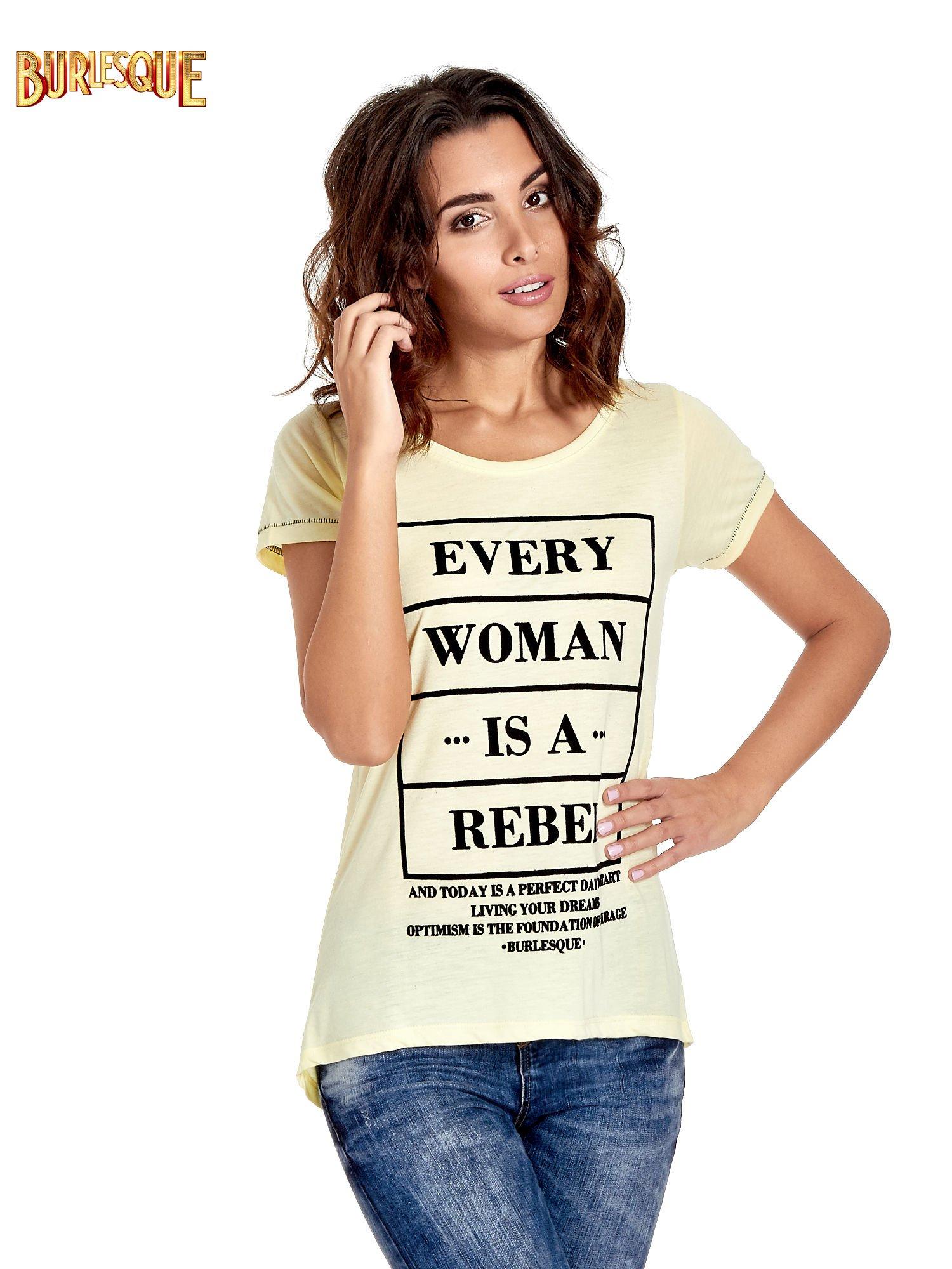 Żółty t-shirt z napisem EVERY WOMAN IS A REBEL                                  zdj.                                  1