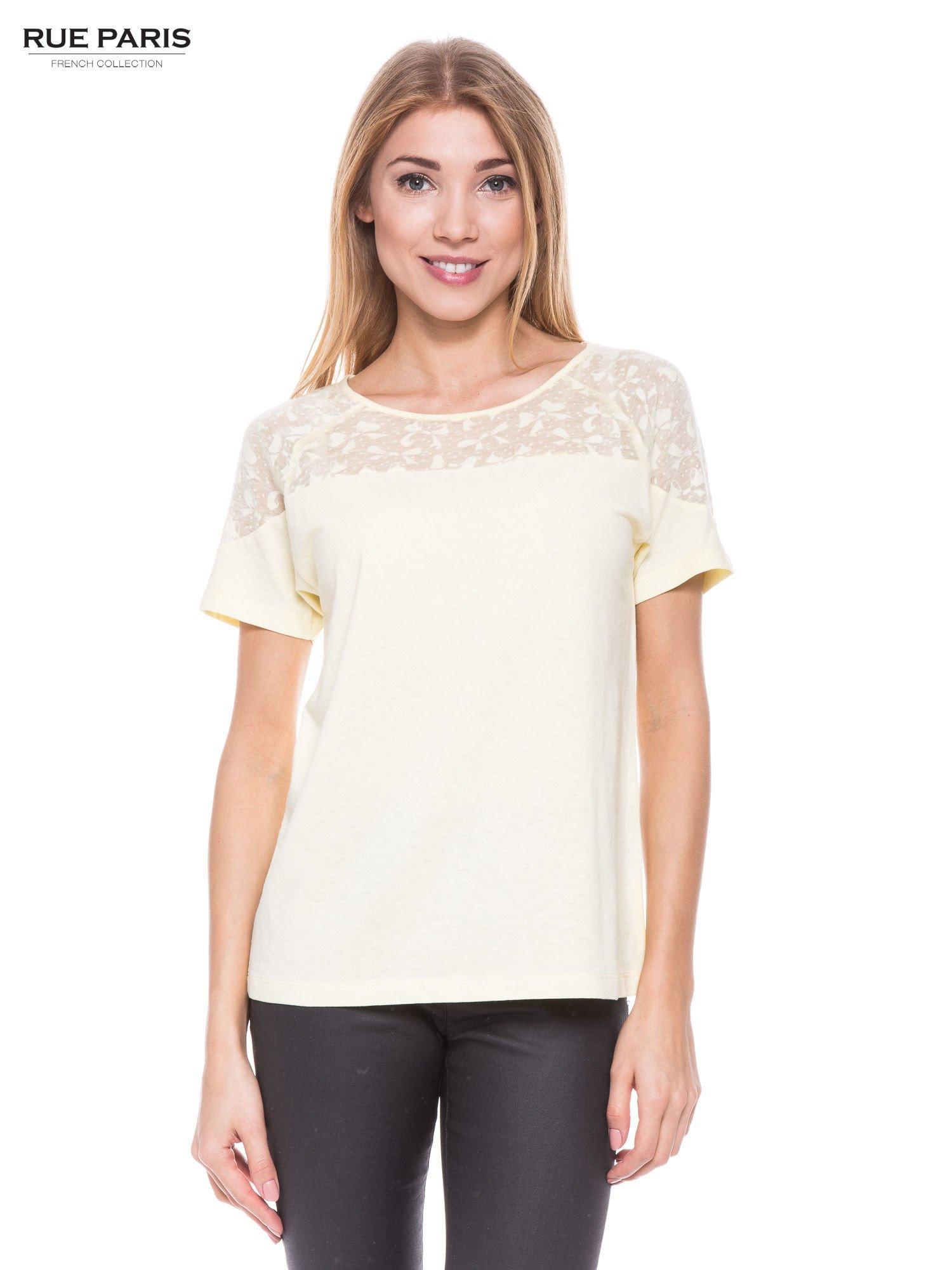 Żółty t-shirt z transparentną górą w kokardki                                  zdj.                                  1