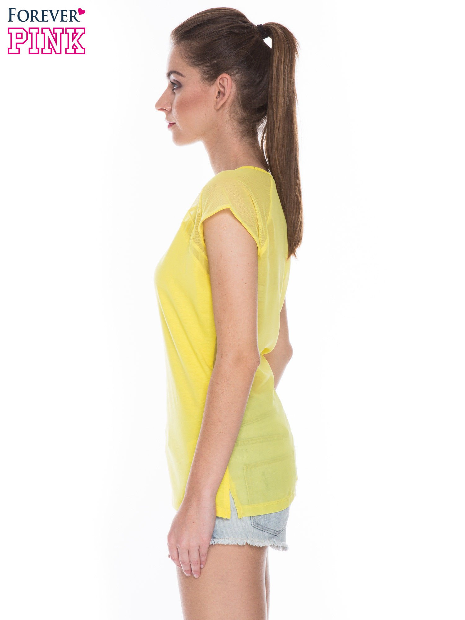 Żółty t-shirt z transparentnym tyłem                                  zdj.                                  2