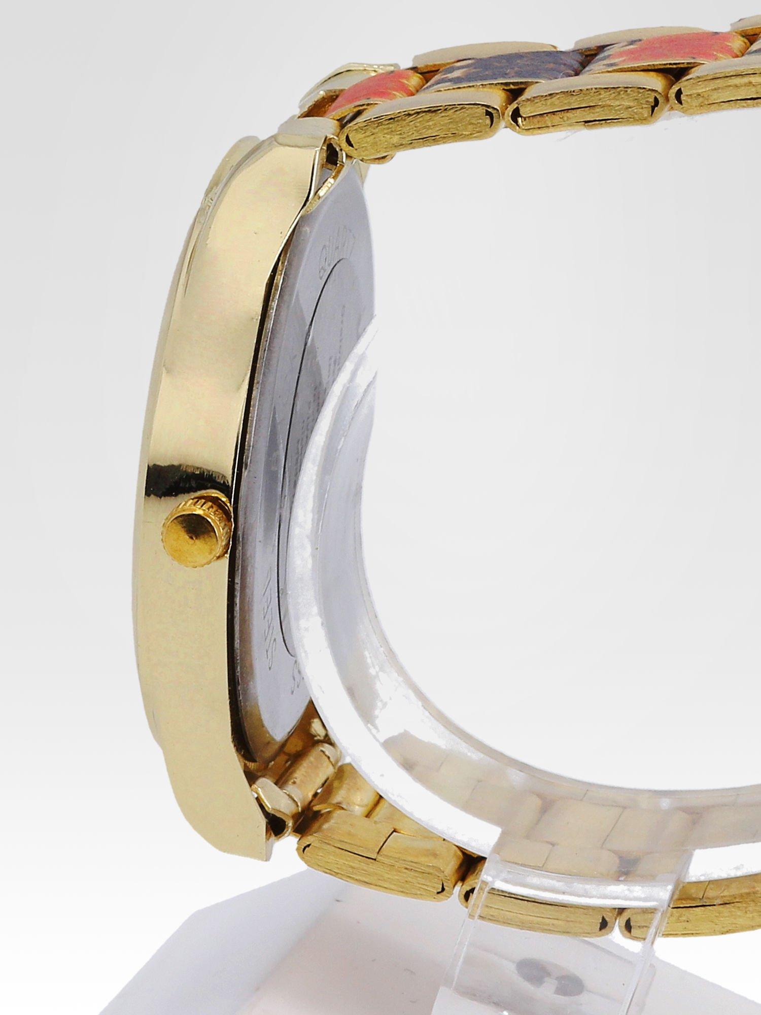 zegarek damski na bransolecie z czerwonym motywem kwiatowym                                  zdj.                                  3